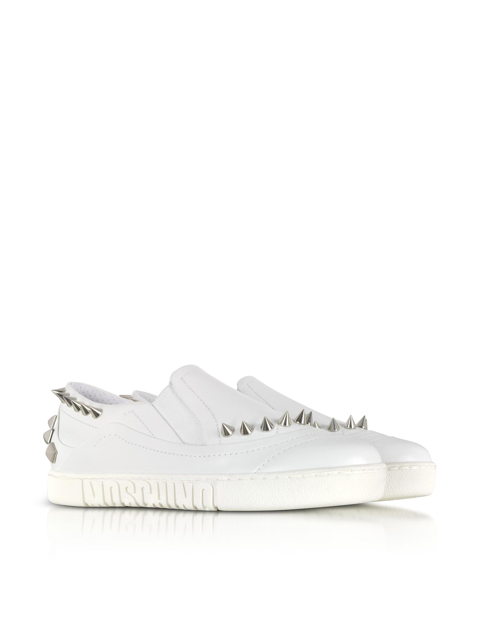 Moschino Shoes, Leather Slip On Sneakers w/Spikes