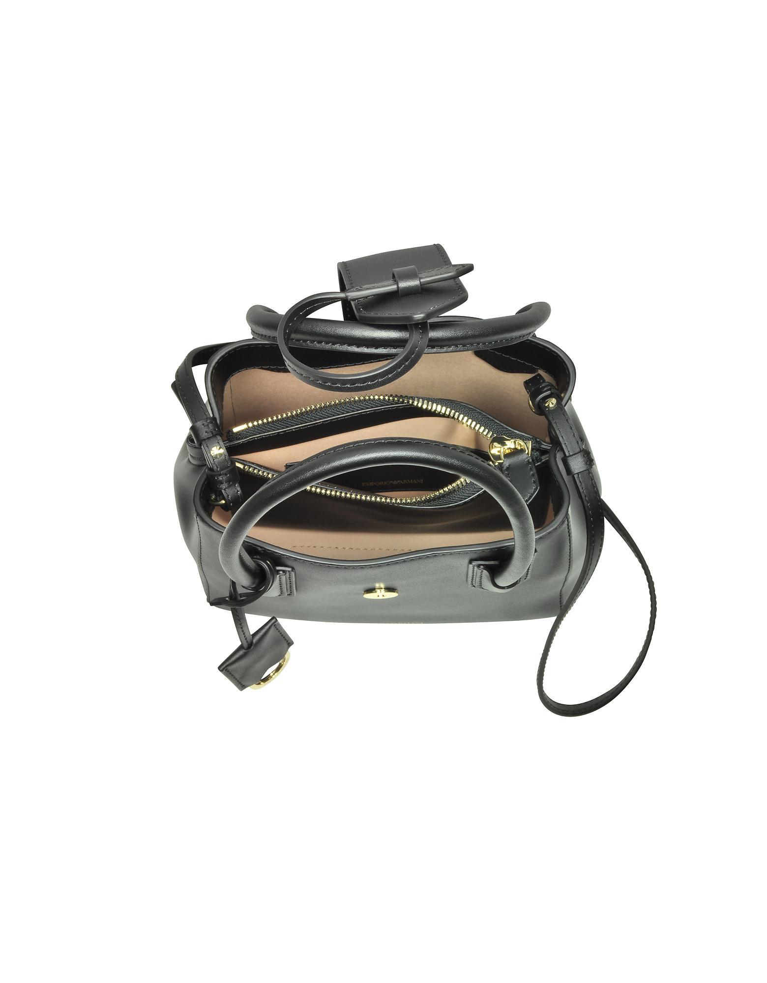 da130fab0d79 Emporio Armani - Black Genuine Leather Satchel Bag - Lyst. View fullscreen