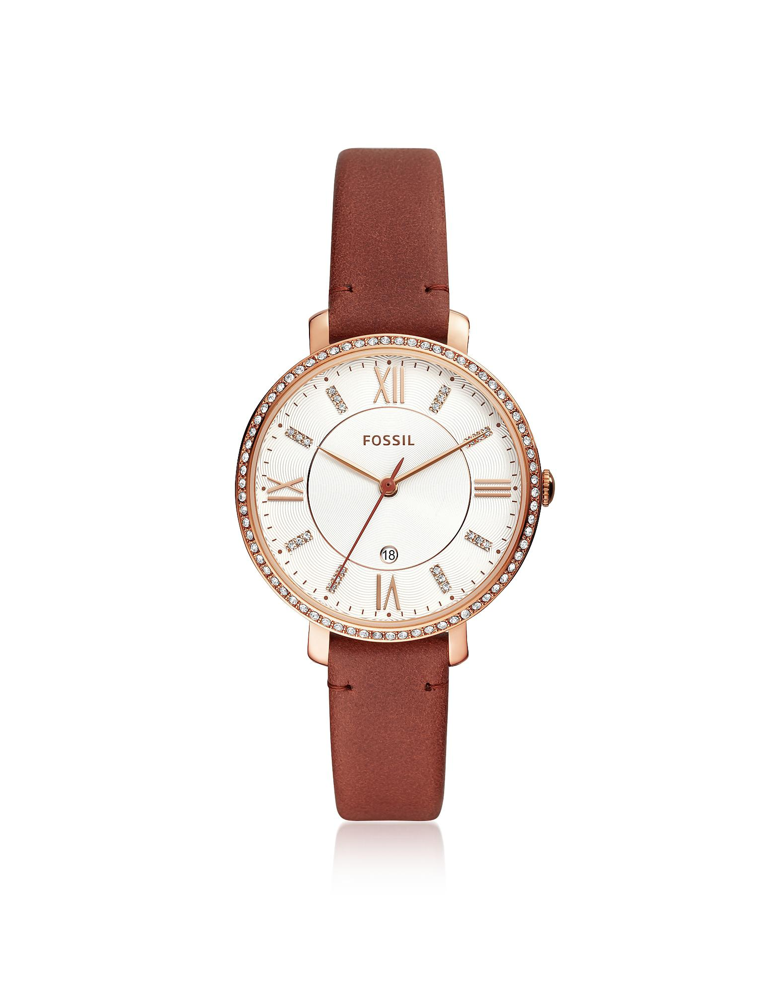 fbe7a6745f4 Fossil Jacqueline Three-hand Crystal Terracotta Leather Watch - Lyst