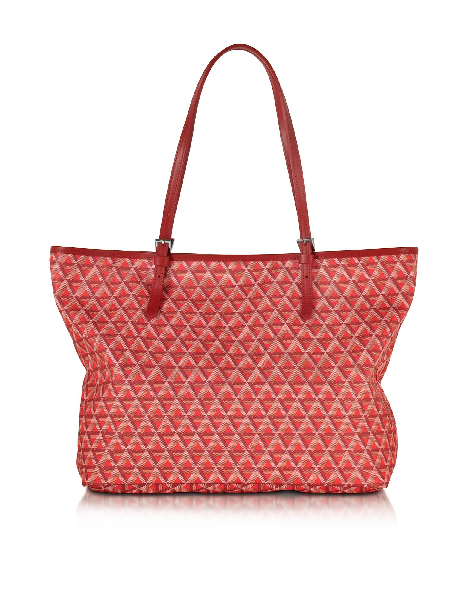 68bce951e3f1 Lancaster Paris Ikon Printed Coated Canvas And Leather Tote in Red ...