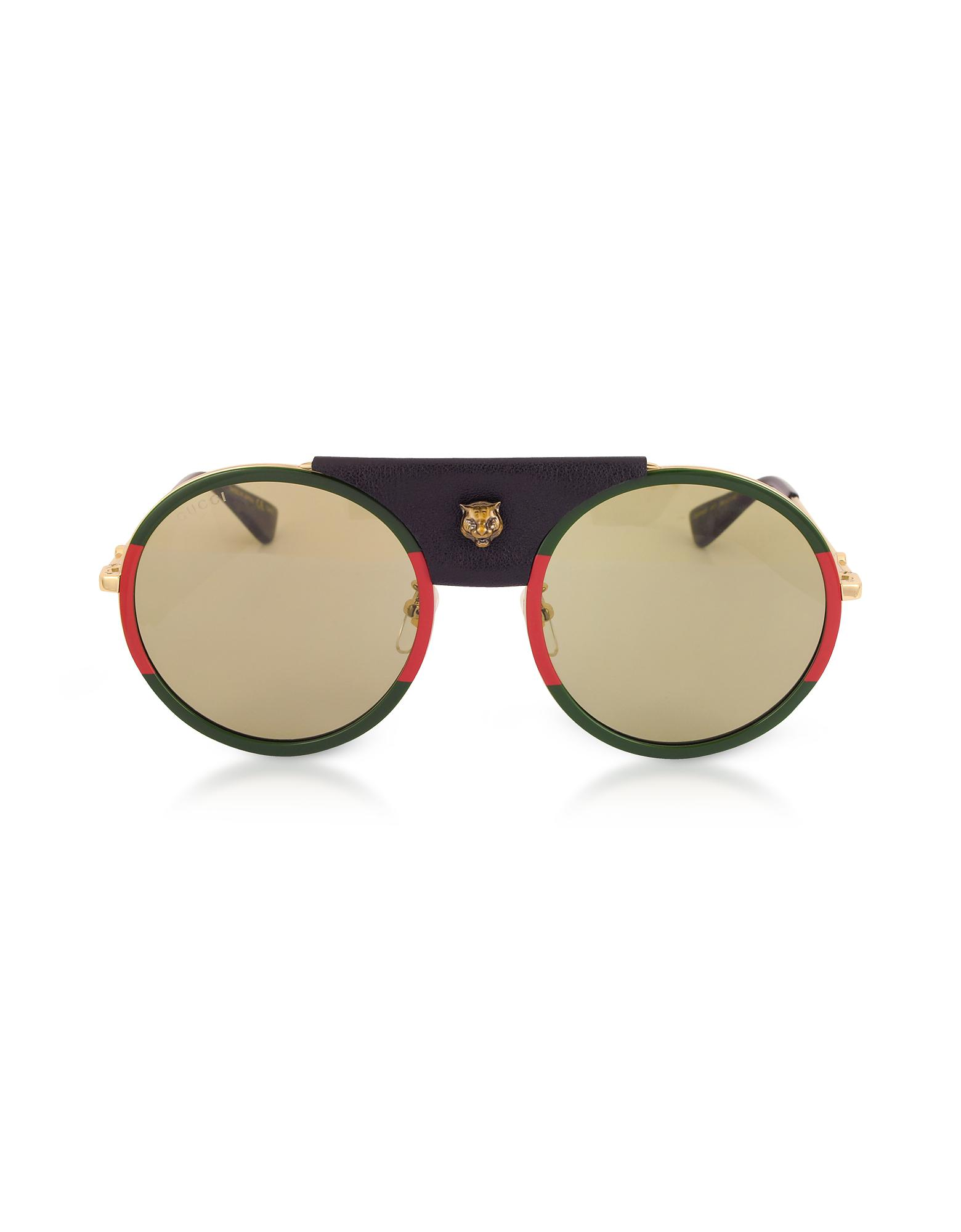 2f1fe03975e Lyst - Gucci GG0061S Round-frame Gold Metal And Black Leather ...