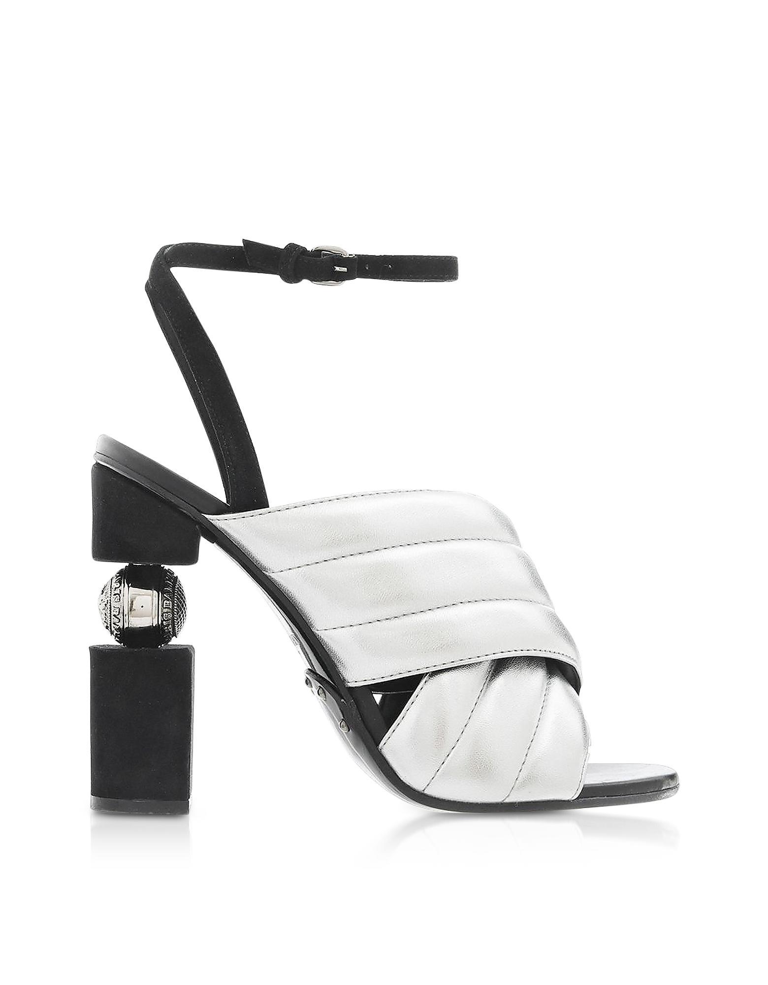 f7805e788d0e Lyst - Balmain Jana Silver Laminated High Heel Sandals in Metallic