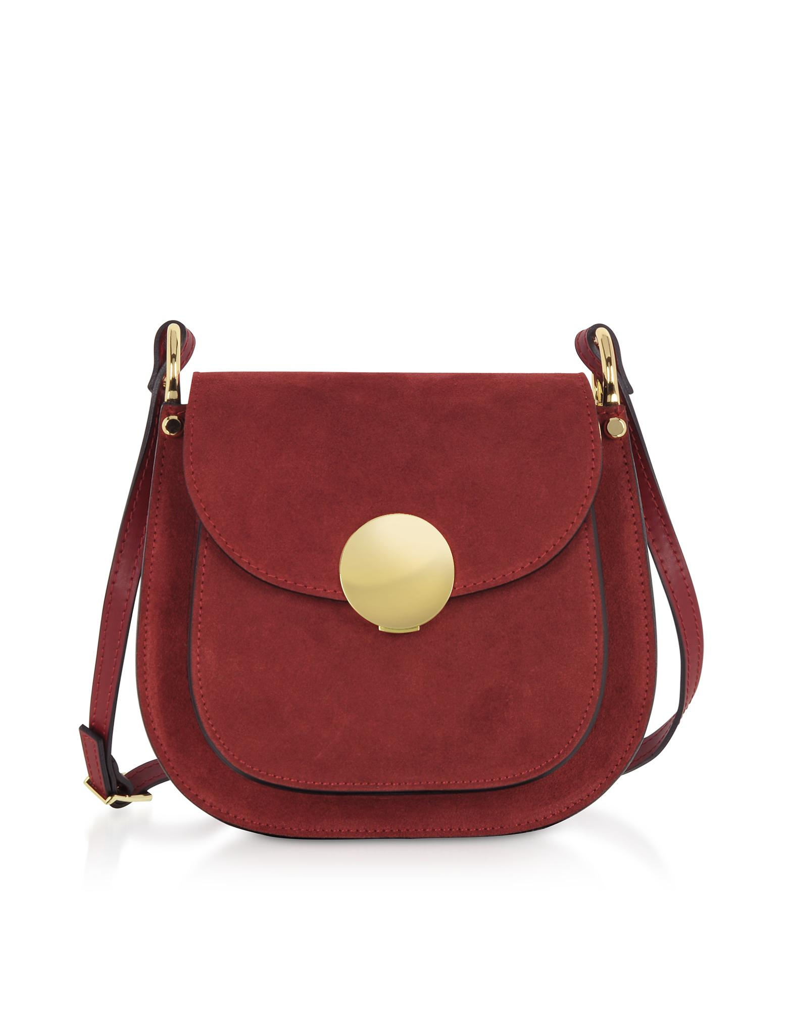 901a9824139b Lyst - Le Parmentier Agave Suede And Smooth Leather Shoulder Bag in Red