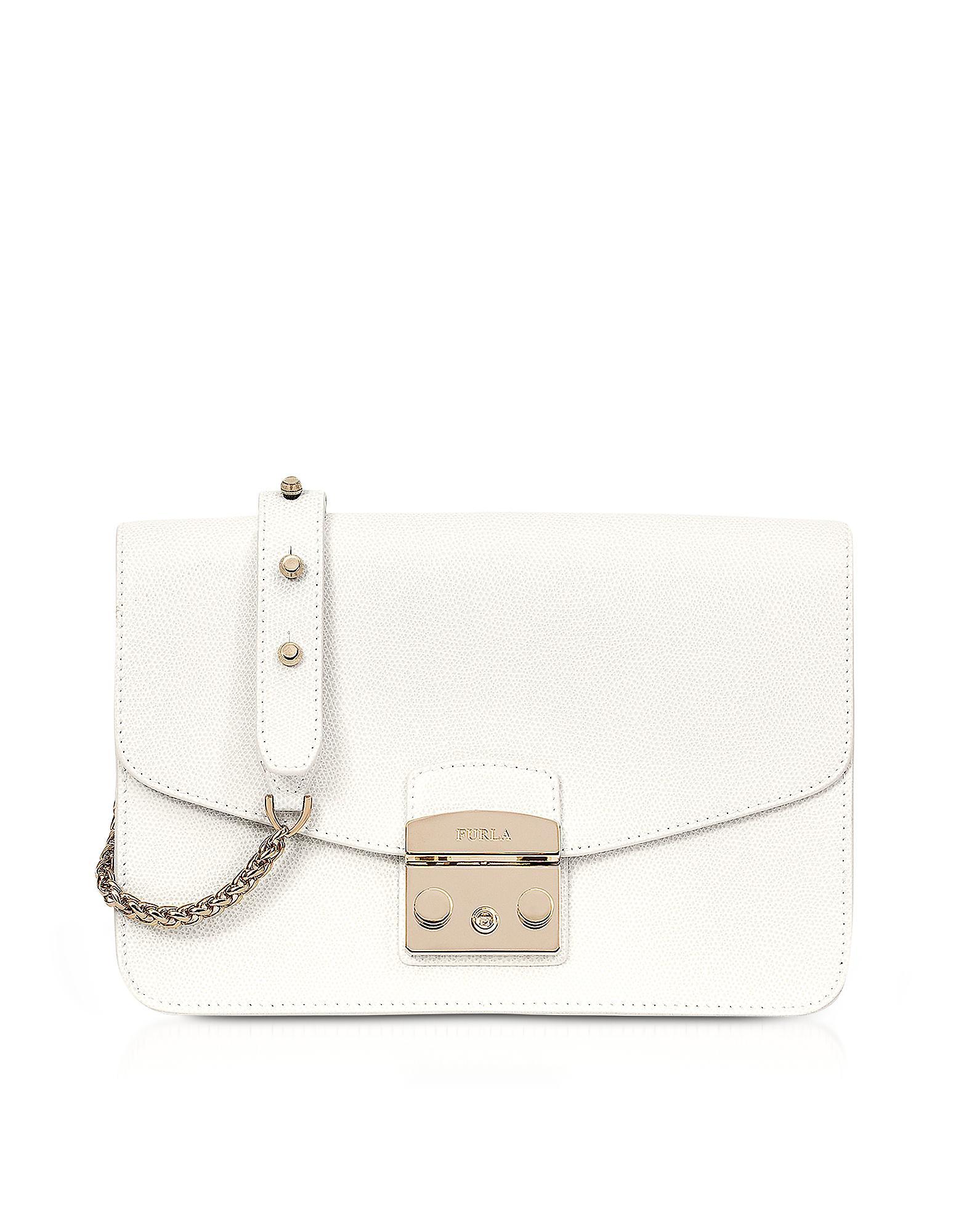 e1c03ae983 Lyst - Furla Petalo Metropolis Small Leather Shoulder Bag in White