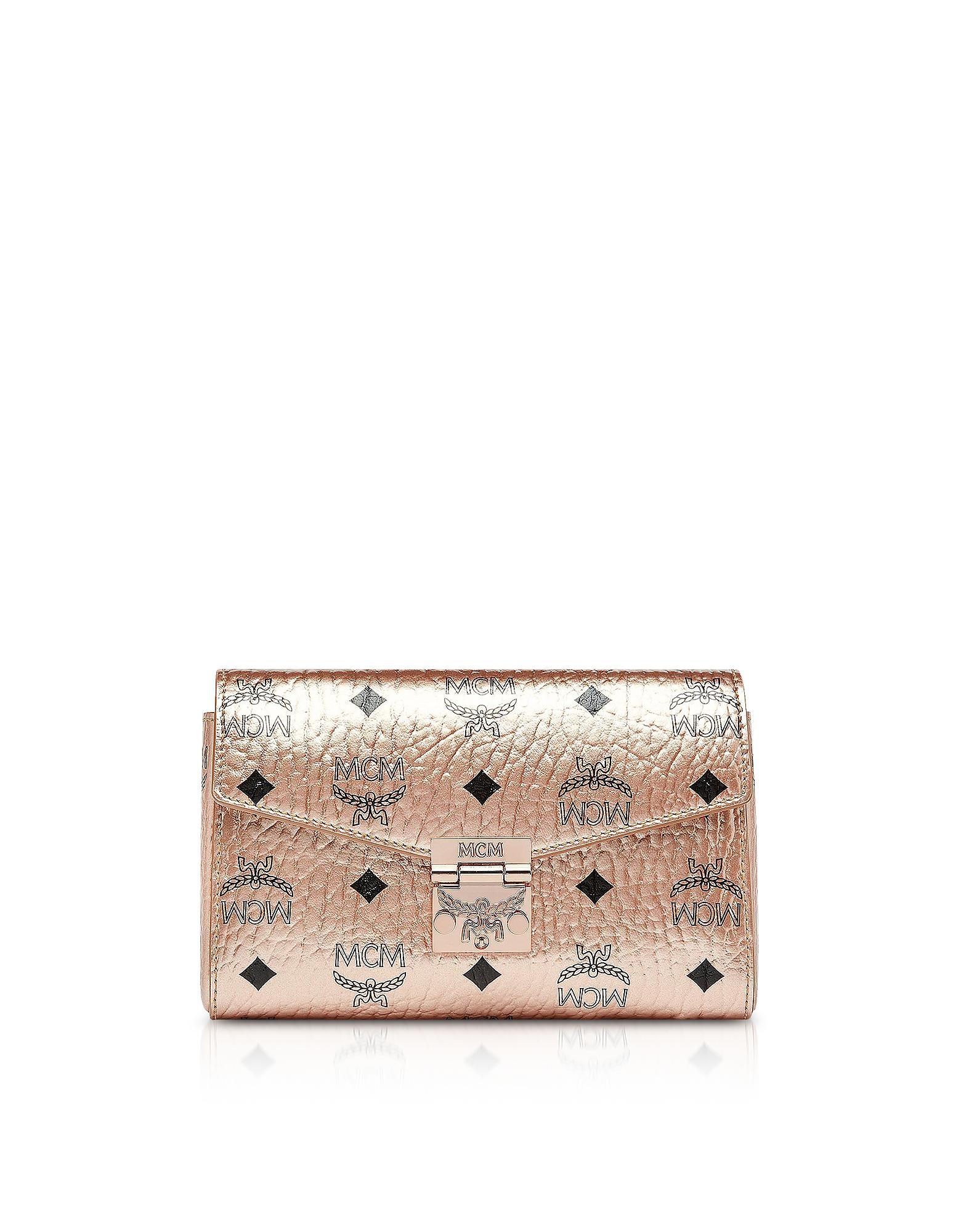c686c4084 MCM - Pink Champagne Gold Millie Visetos Small Crossbody Bag - Lyst. View  fullscreen