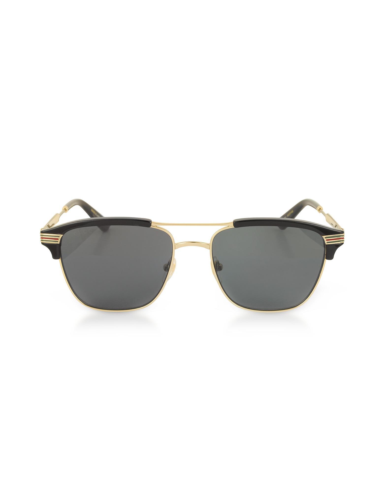fff29e2a05 Lyst - Gucci Gg0241s 002 Square-frame Metal Sunglasses in Black