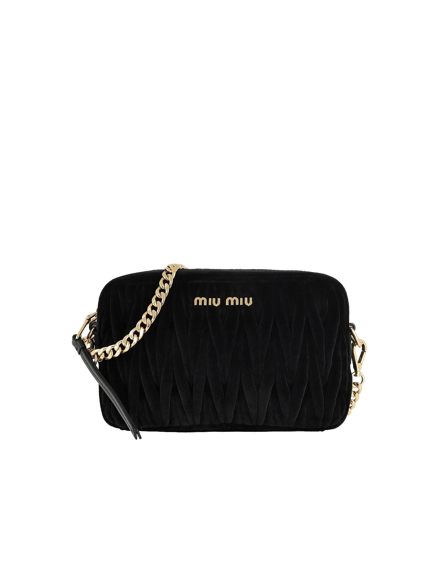 16efab0b7194 Miu Miu - Matelassé Shoulder Bag Velvet Black - Lyst. View fullscreen