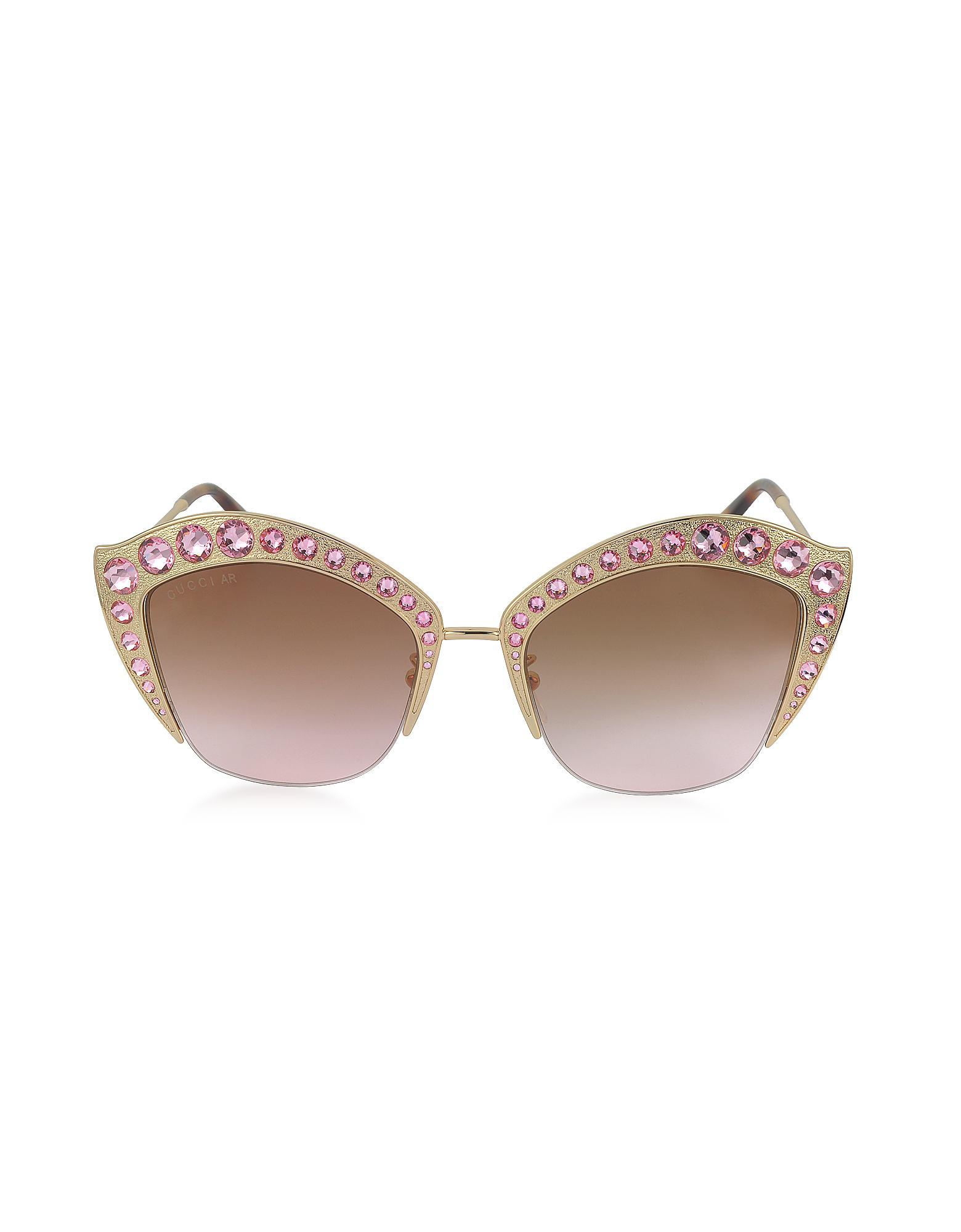 93cb97d9f429 Lyst - Gucci GG0114S Metal Cat Eye Women s Sunglasses W crystals in ...