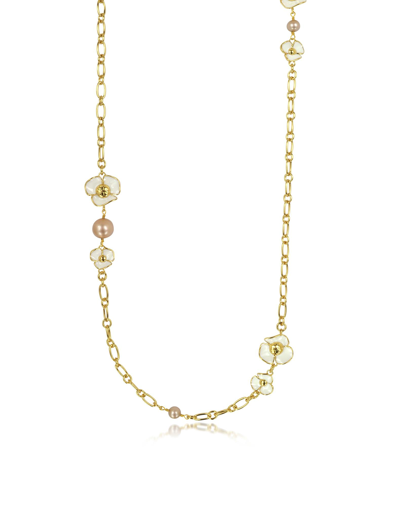 1fe251a772e8 Lyst - Tory Burch Fleur Rosary Long Necklace in White