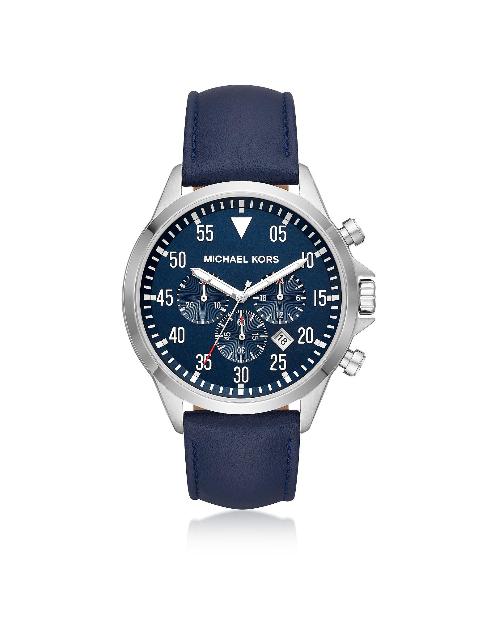 Lyst - Michael Kors Gage Silver Tone And Blue Leather Men s Watch in ... 58835a9ddac