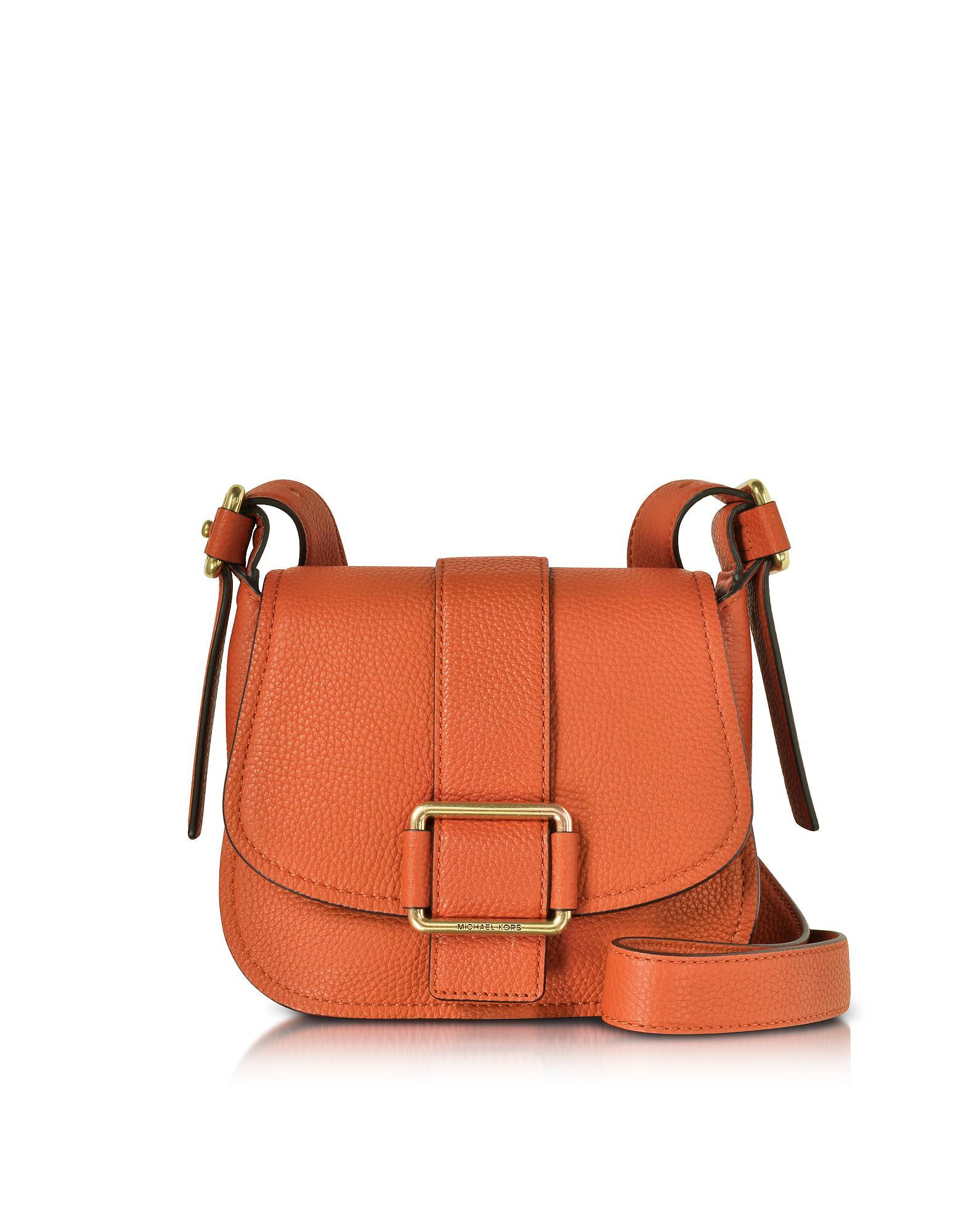 cfa8744cd0e Lyst - Michael Kors Maxine Medium Leather Saddle Bag in Orange