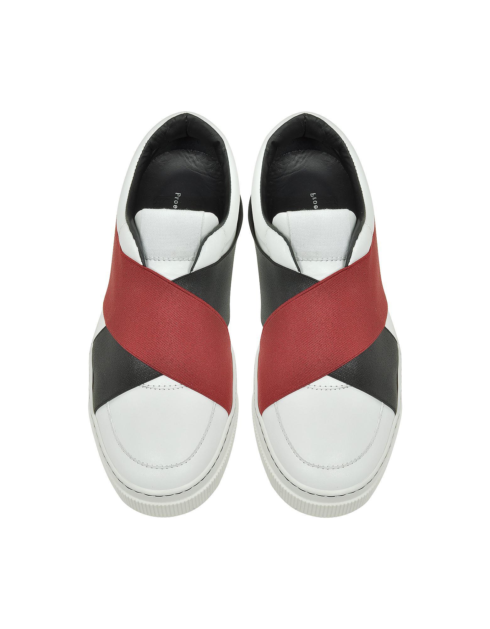 Proenza Schouler White Leather Slip On Sneaker W Two Tone