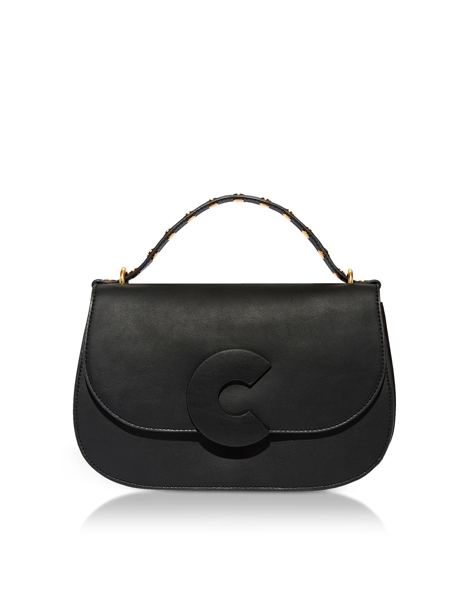 Coccinelle Handbags, Craquante Rock Leather and Suede Satchel Bag w/Studded Handle