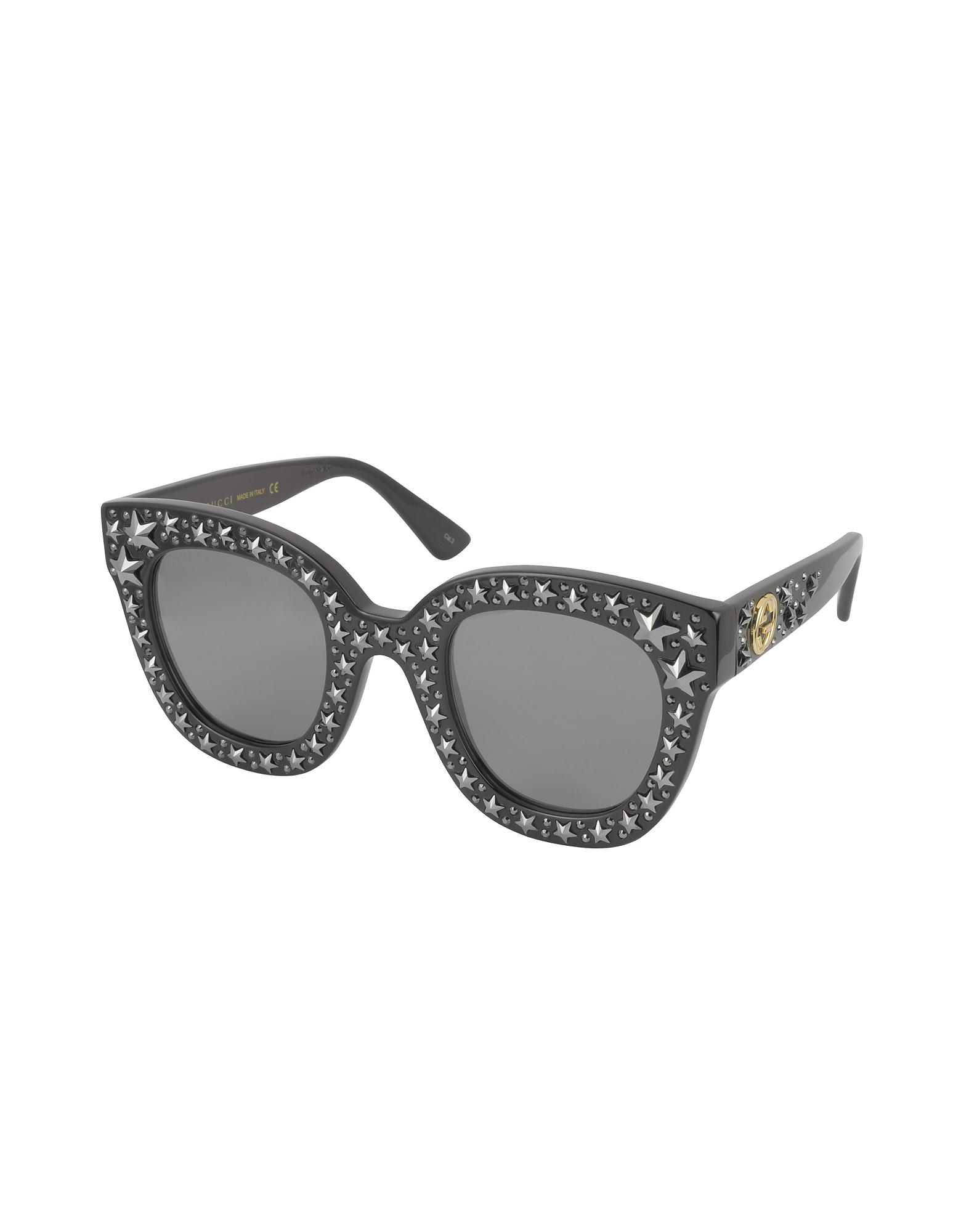3965bc3630e Lyst - Gucci Gg0116s Acetate Cat Eye Women s Sunglasses W stars in Black