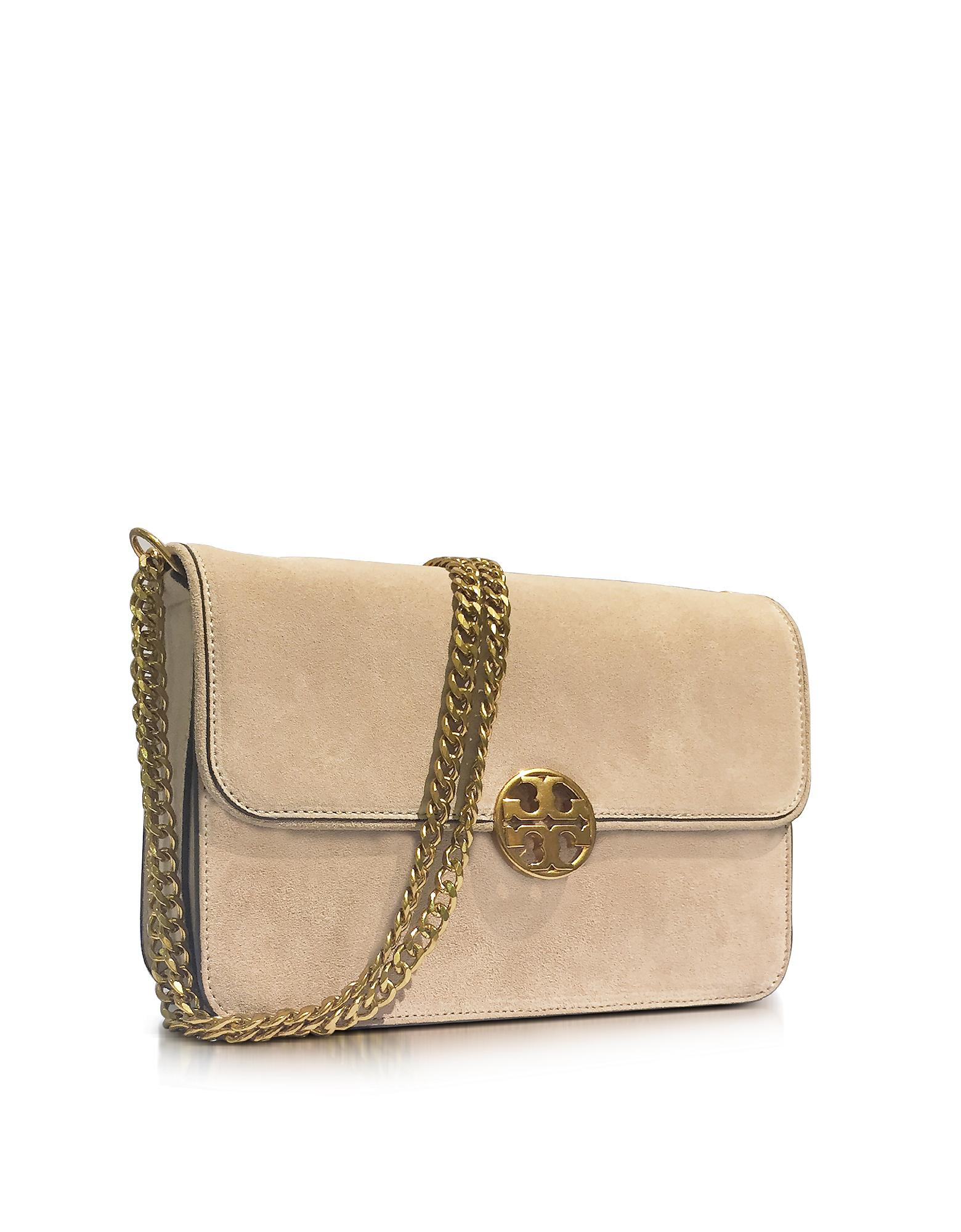 eec3a5f0b23aa Lyst - Tory Burch Chelsea Stucco Suede Shoulder Bag in Natural
