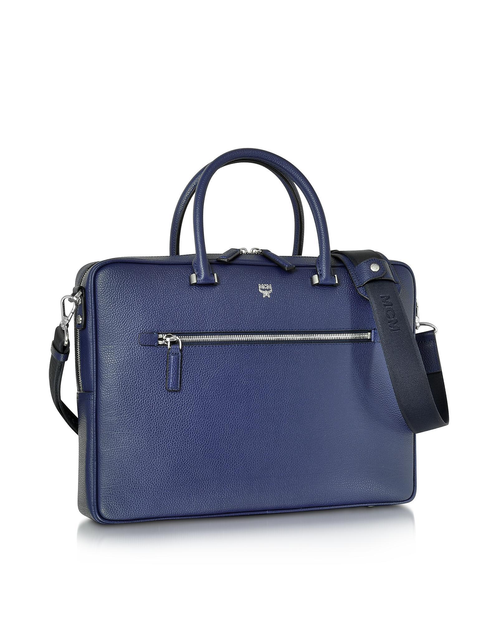 363d55eeed8e2 MCM Pistol Blue Otto Grain Leather Medium Briefcase in Blue for Men ...