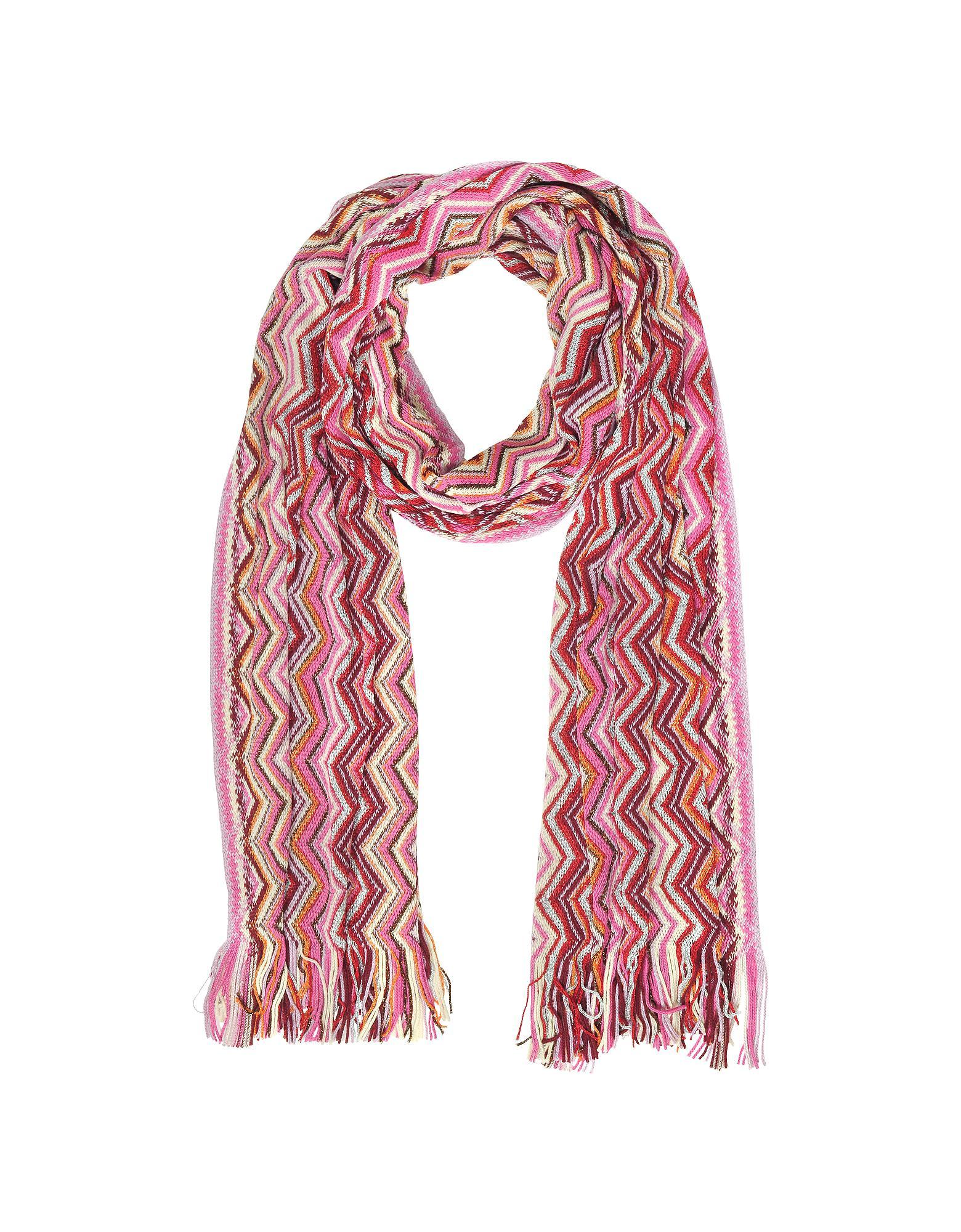 0eaf636ef Missoni Pink Zig Zag Wool Blend And Lurex Women's Long Scarf in Pink ...
