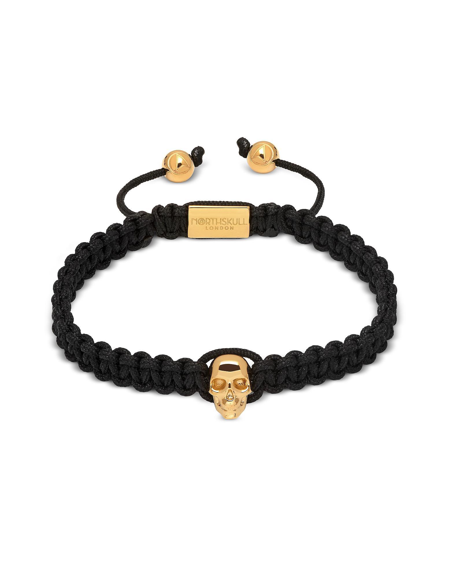 7f29a50faa69 Northskull - Atticus Skull Macramé Bracelet In Black And Yellow Gold for  Men - Lyst. Ver en pantalla completa