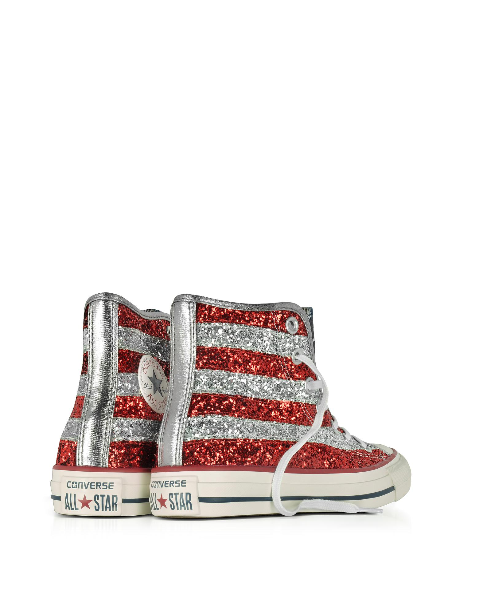 95a0572534e817 Lyst - Converse Chuck Taylor All Star Hi Silver And Red Glitter ...