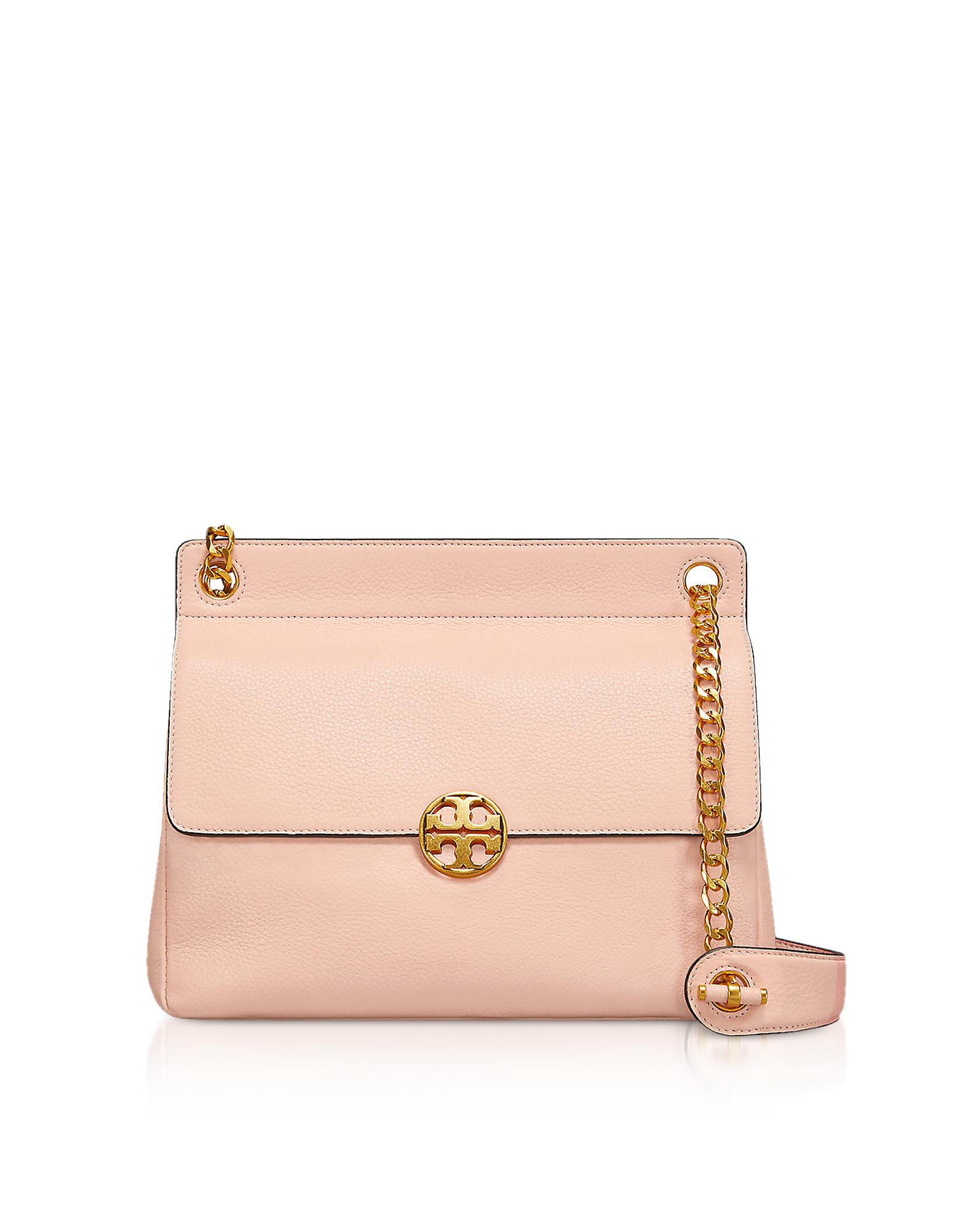b9a8f7fec724 Tory Burch Pebbled Leather Chelsea Flap Shoulder Bag in Pink - Lyst