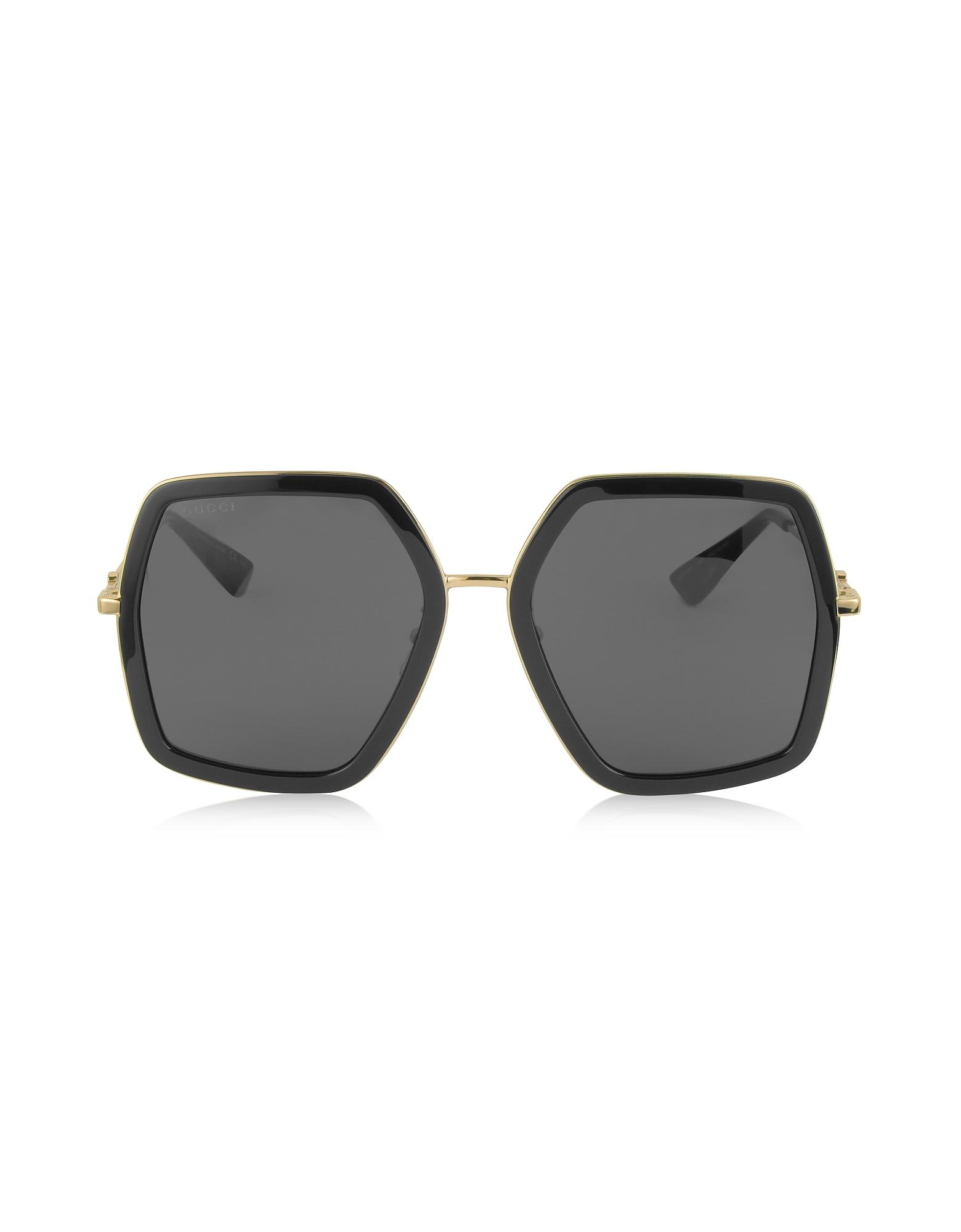 7d97a4c0099 Gucci. GG0106S 001 Black Acetate And Gold Metal Square Oversized Women s  Sunglasses
