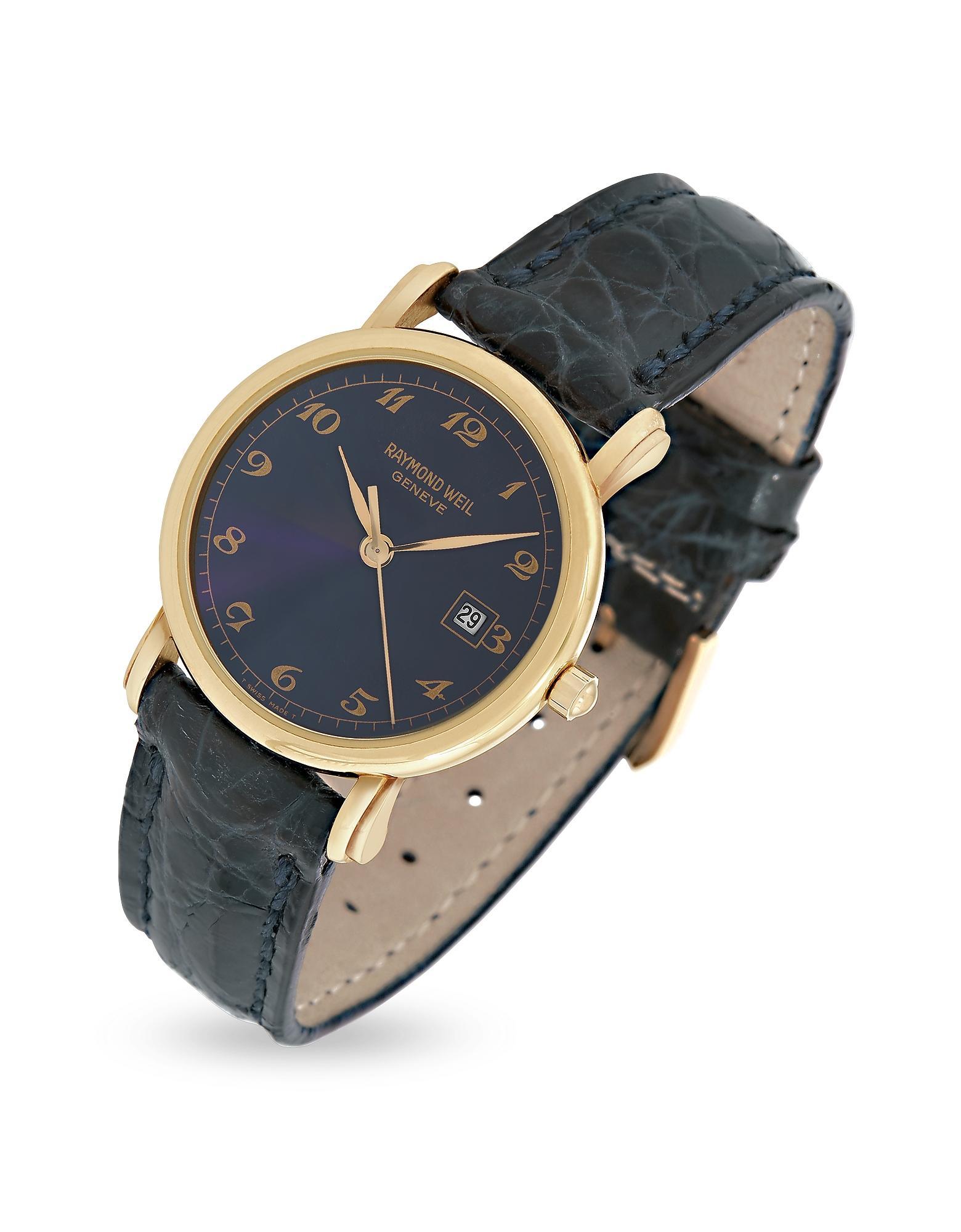 697d65bc95 Montre en plaqué or 750/1000 à cadran bleu et bracelet cuir croco ...
