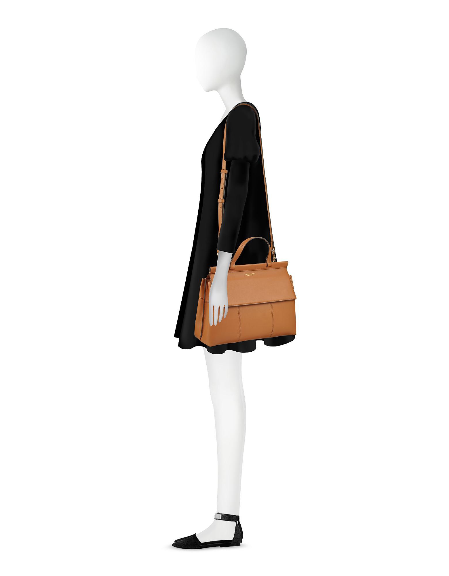 39b85ee584e3 Lyst - Tory Burch Block-t British Tan Leather Top Handle Satchel Bag ...
