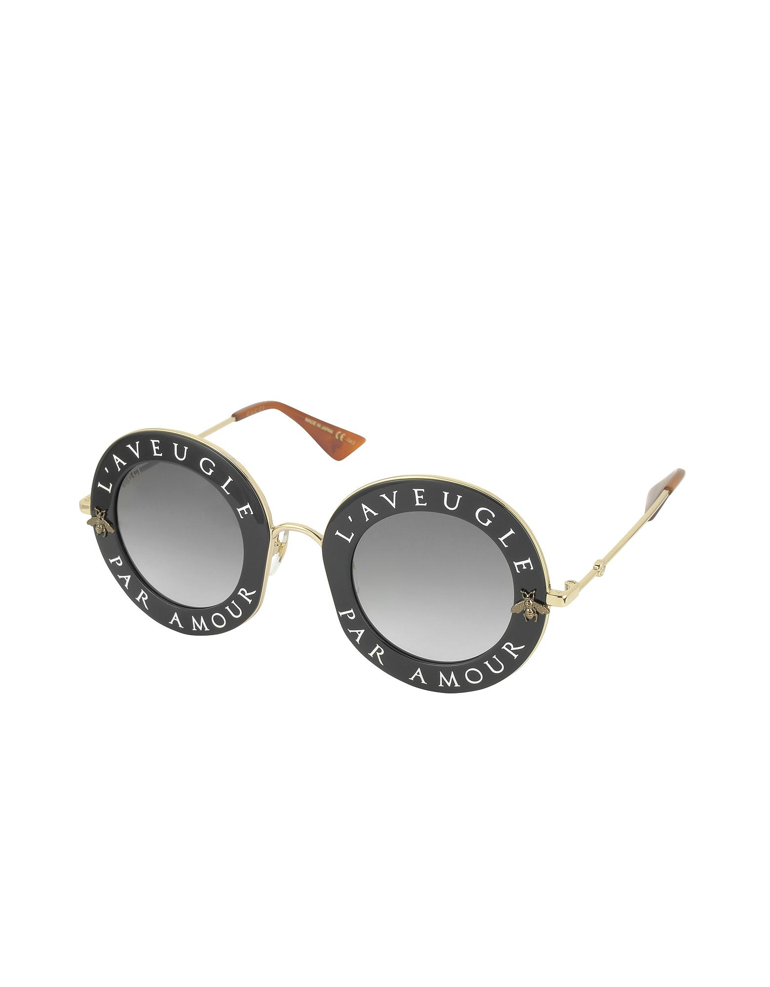 1eb1ee17f03 Lyst - Gucci GG0113S Acetate And Gold Metal Round Women s Sunglasses ...