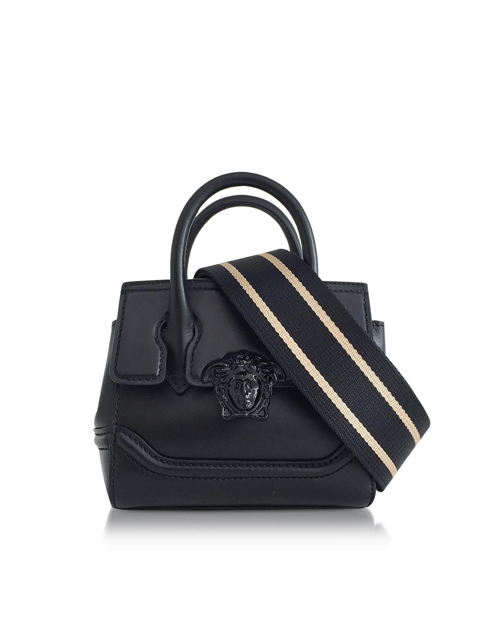 649d1373d4 Lyst - Versace Palazzo Empire Black Leather Mini Handbag in Black