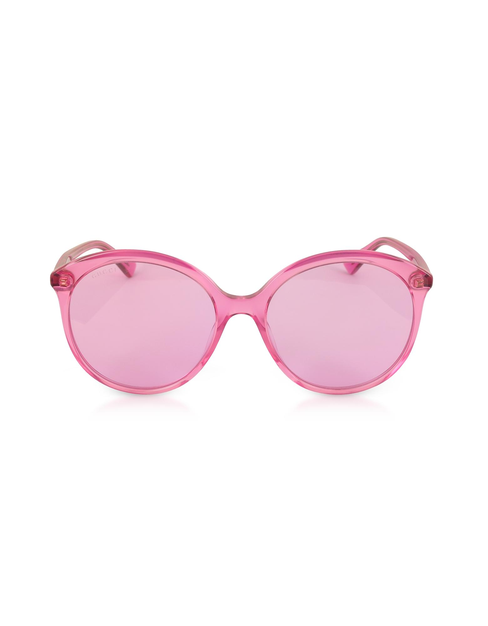 f0eb7f52d668b Gucci. Women s Pink GG0257S Specialized Fit Round-frame Transparent Fuchsia  Acetate Sunglasses