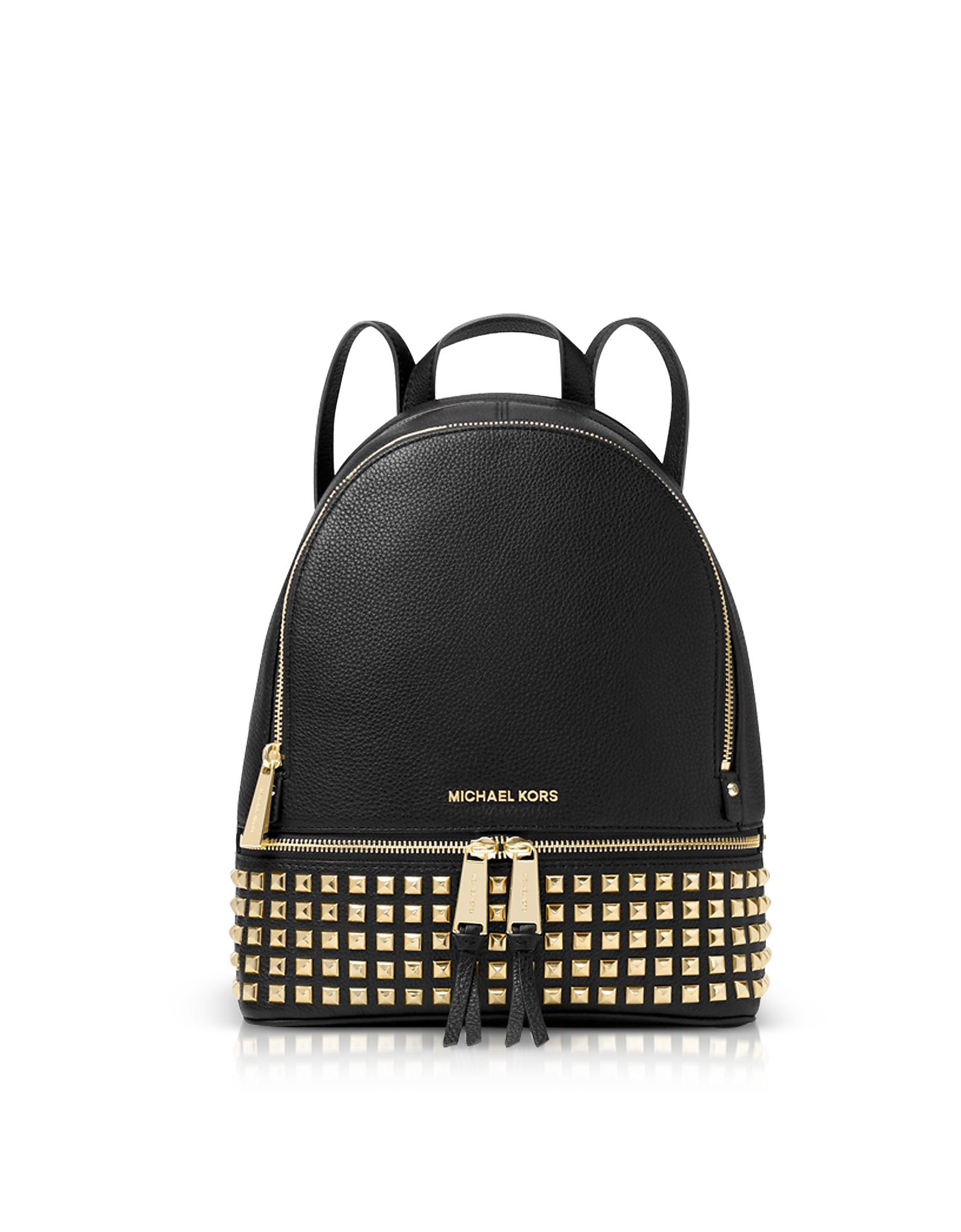 931de476bdce Michael Kors - Black Rhea Medium Studded Leather Backpack - Lyst. View  fullscreen