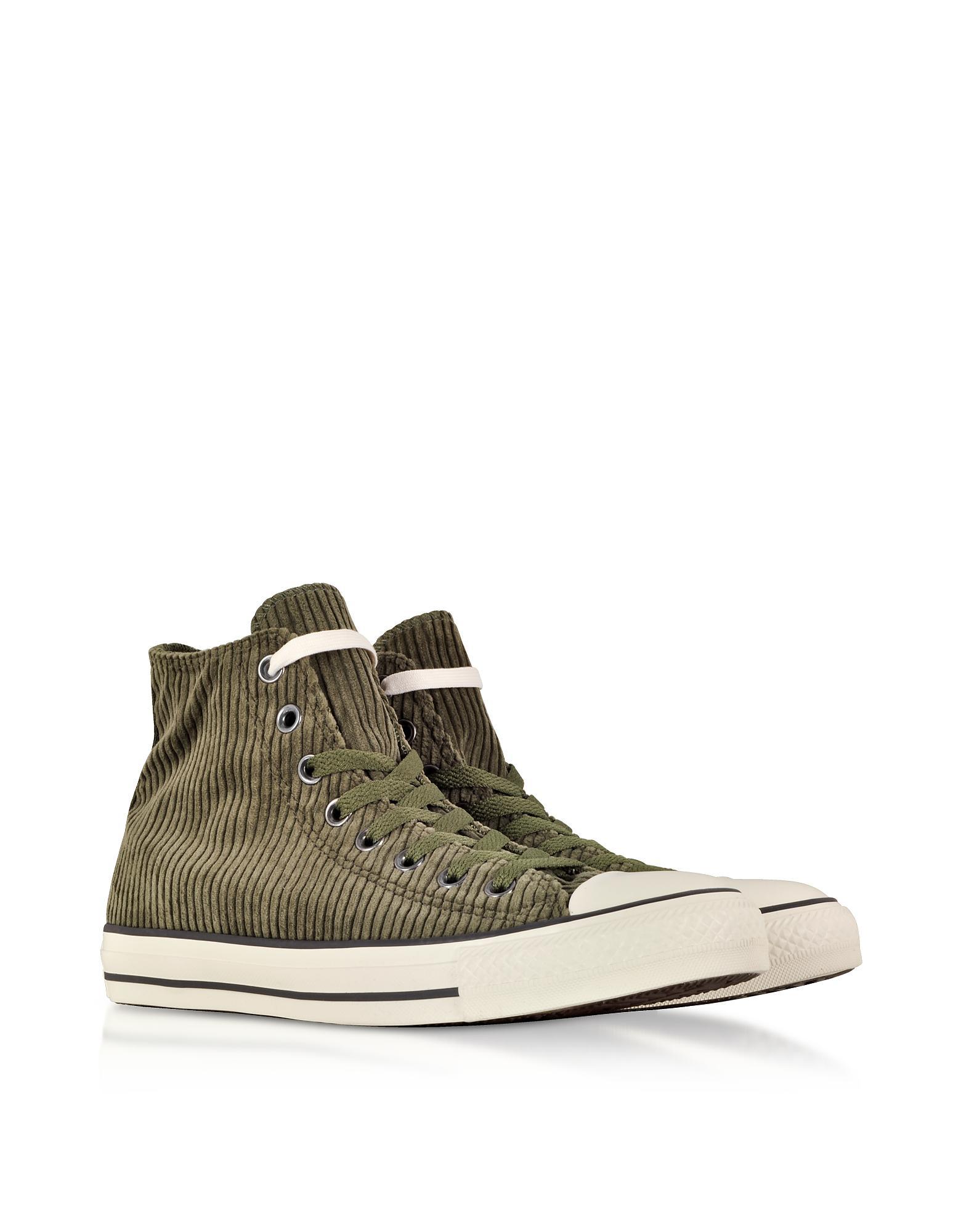 9a87759d4f3d1d Lyst - Converse Chuck Taylor All Star Hi Military Green Corduroy ...