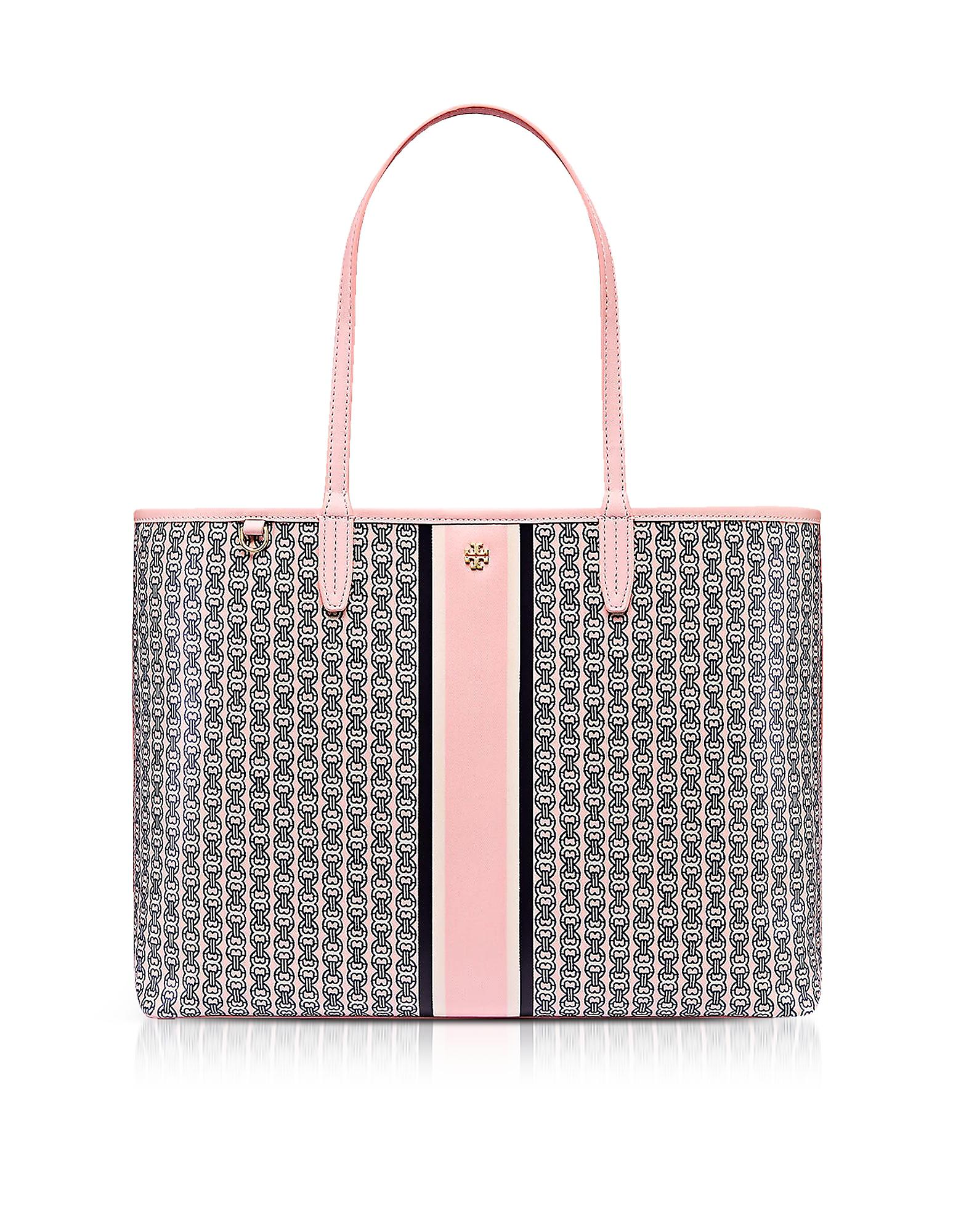 4b301b3d8d04 Lyst - Tory Burch Pink Gemini Link Stripe Canvas Tote Bag in Pink