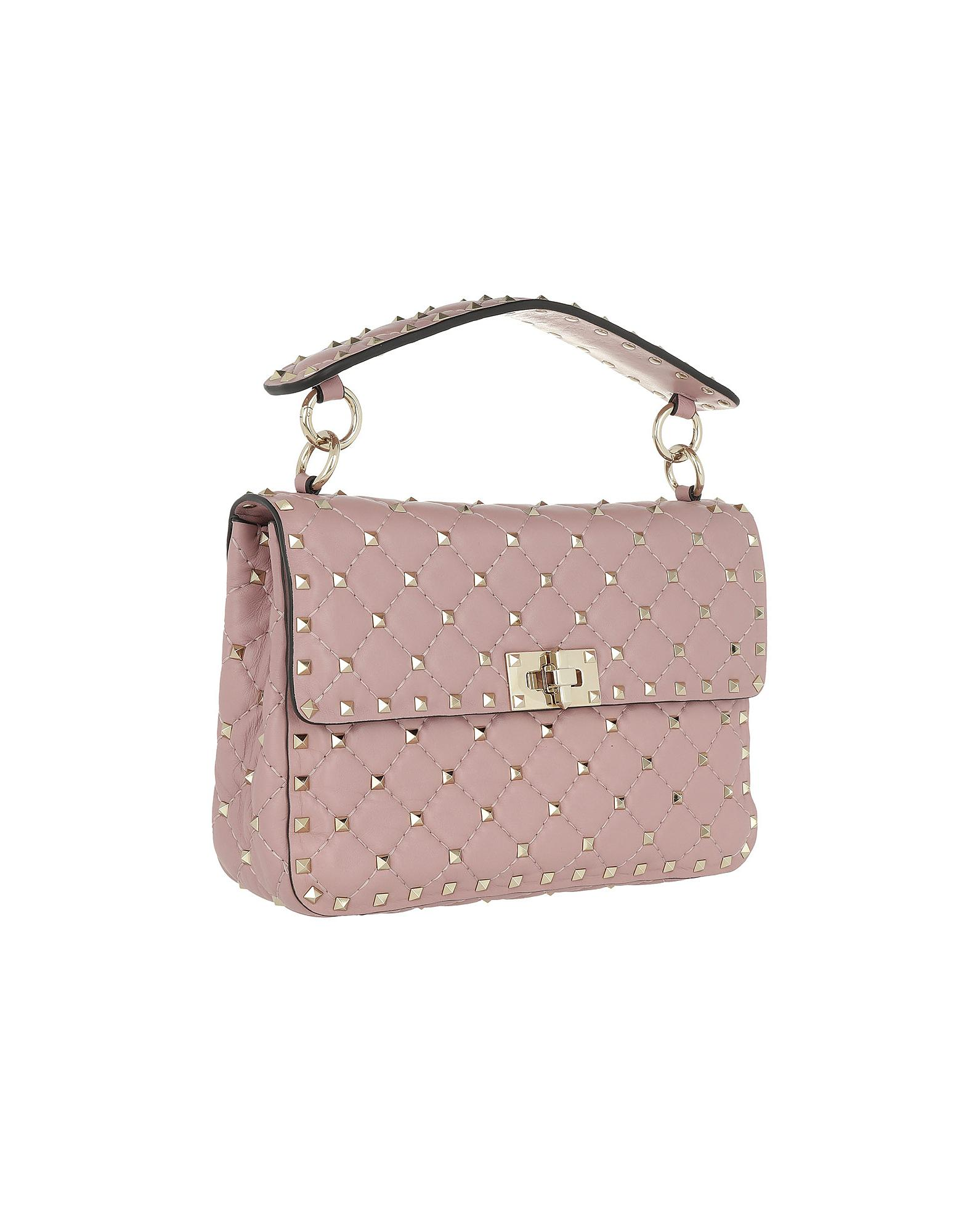 4556f5075c0a Valentino Rockstud Spike Crossbody Bag Nappa Lip in Pink - Lyst