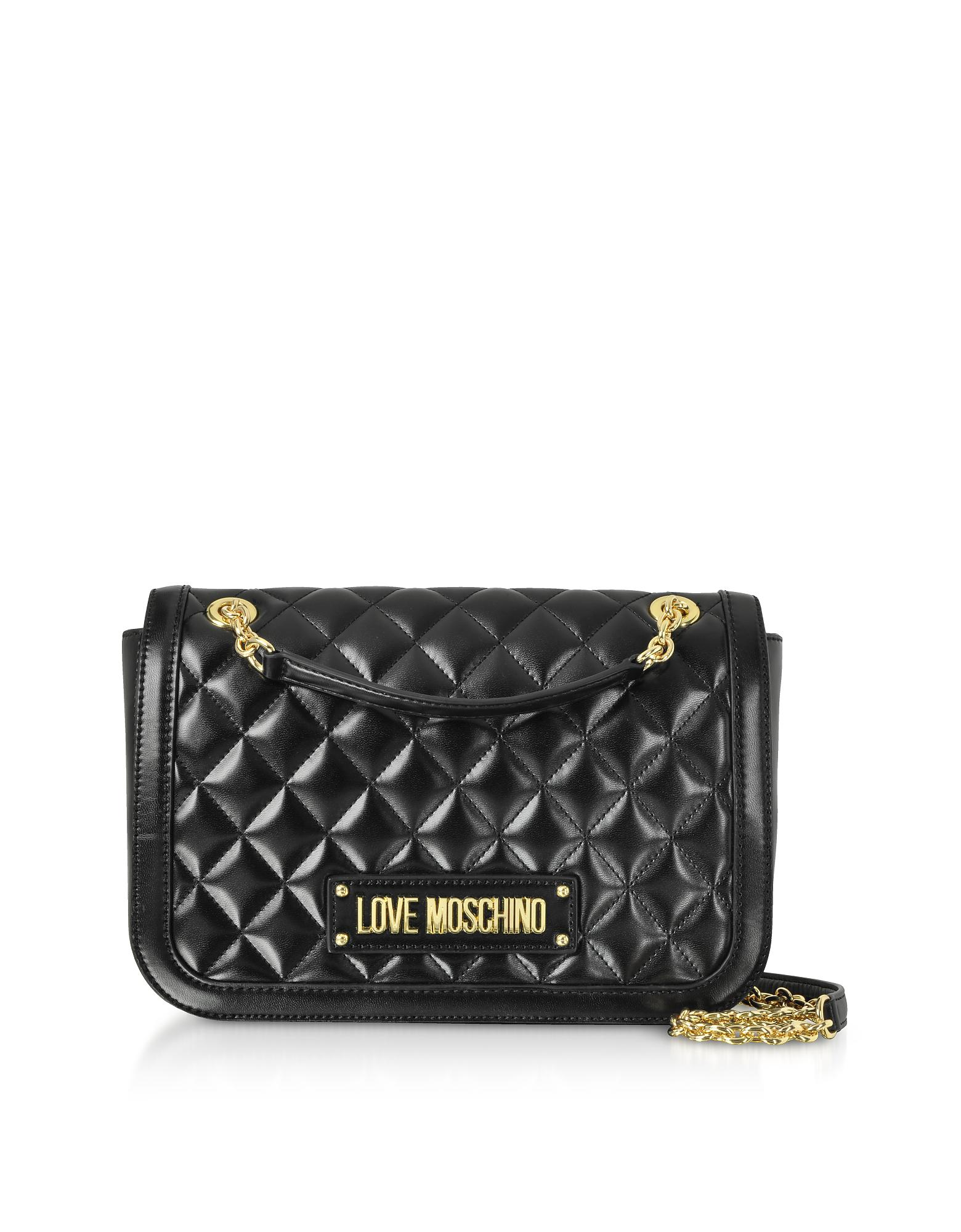 30bcb98a47fc Love Moschino - Black New Quilted Eco Leather Crossbody - Lyst. View  fullscreen