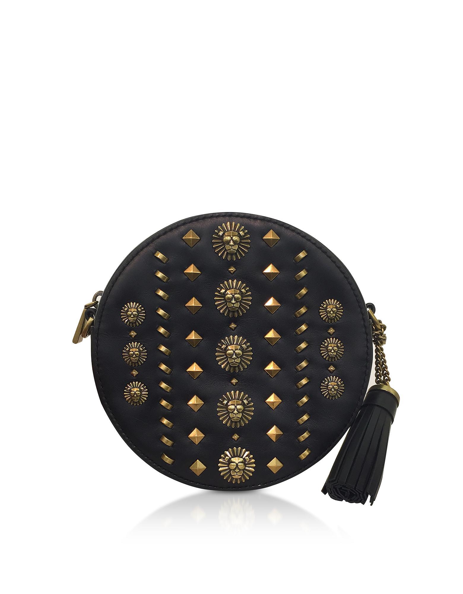 Lyst - Michael Kors Black Studded Polished Leather Canteen Crossbody ... b9175277104f6
