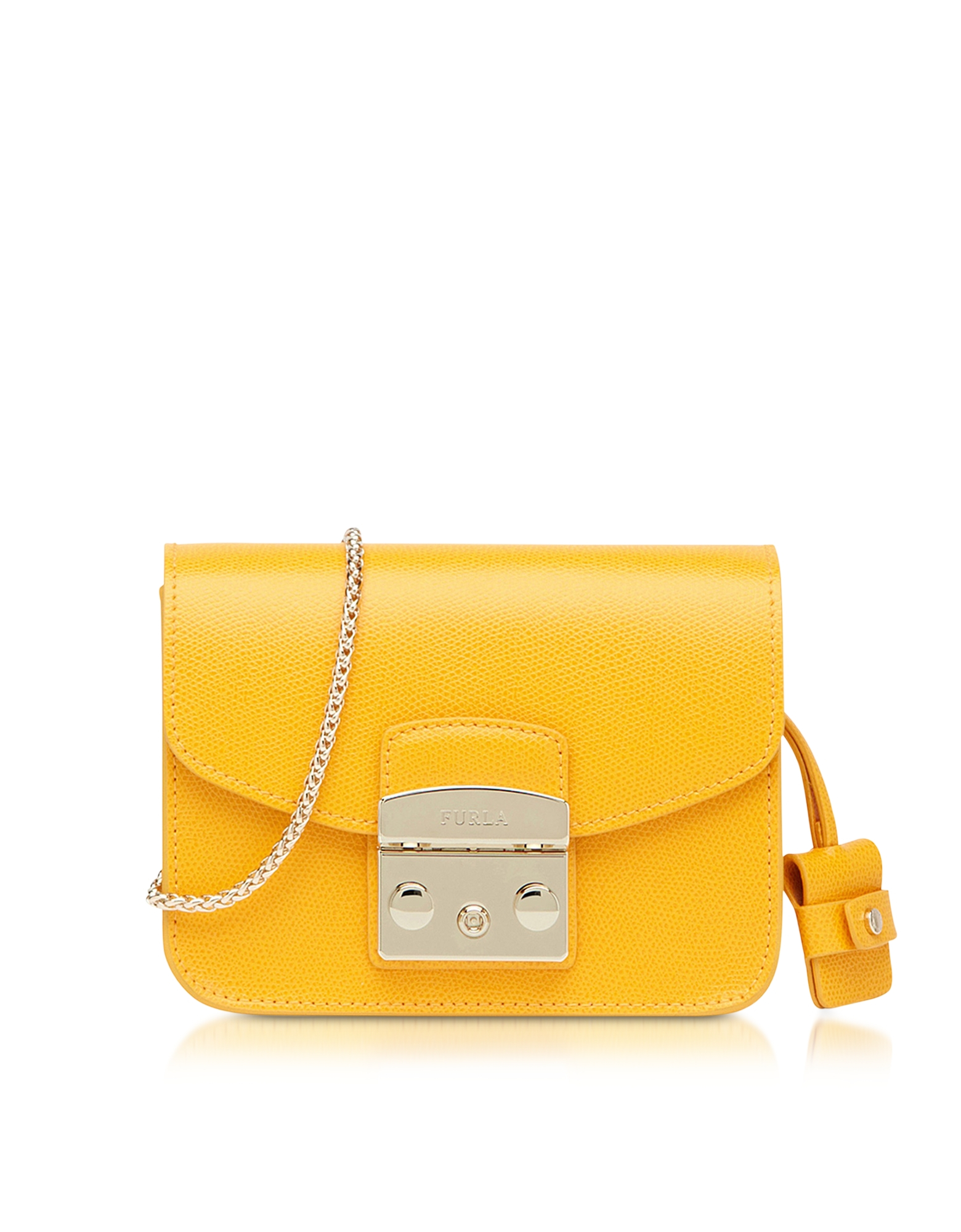furla metropolis giallo leather mini crossbody bag in