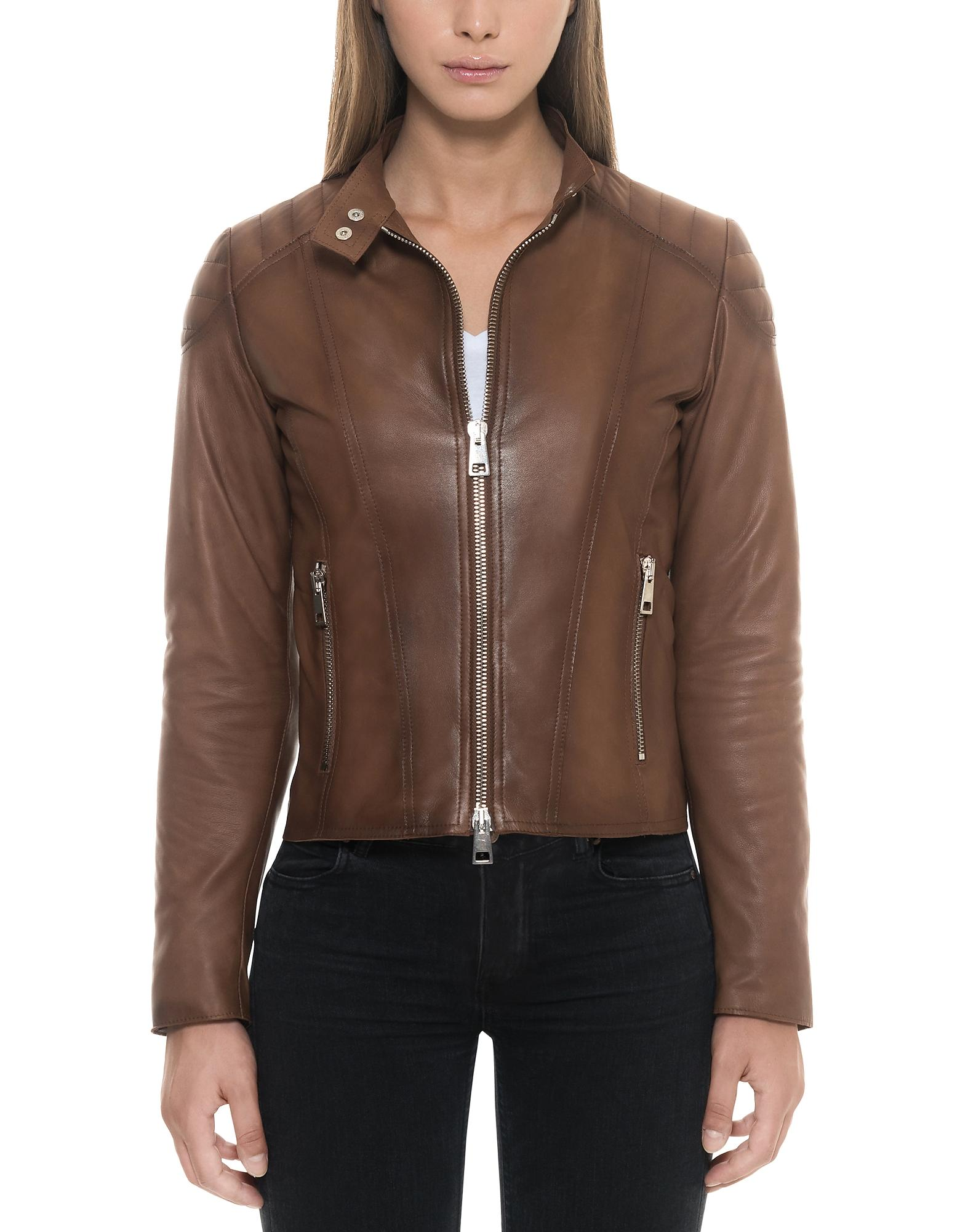 Forzieri Brown Padded Leather Women's Zip Front Jacket in ...