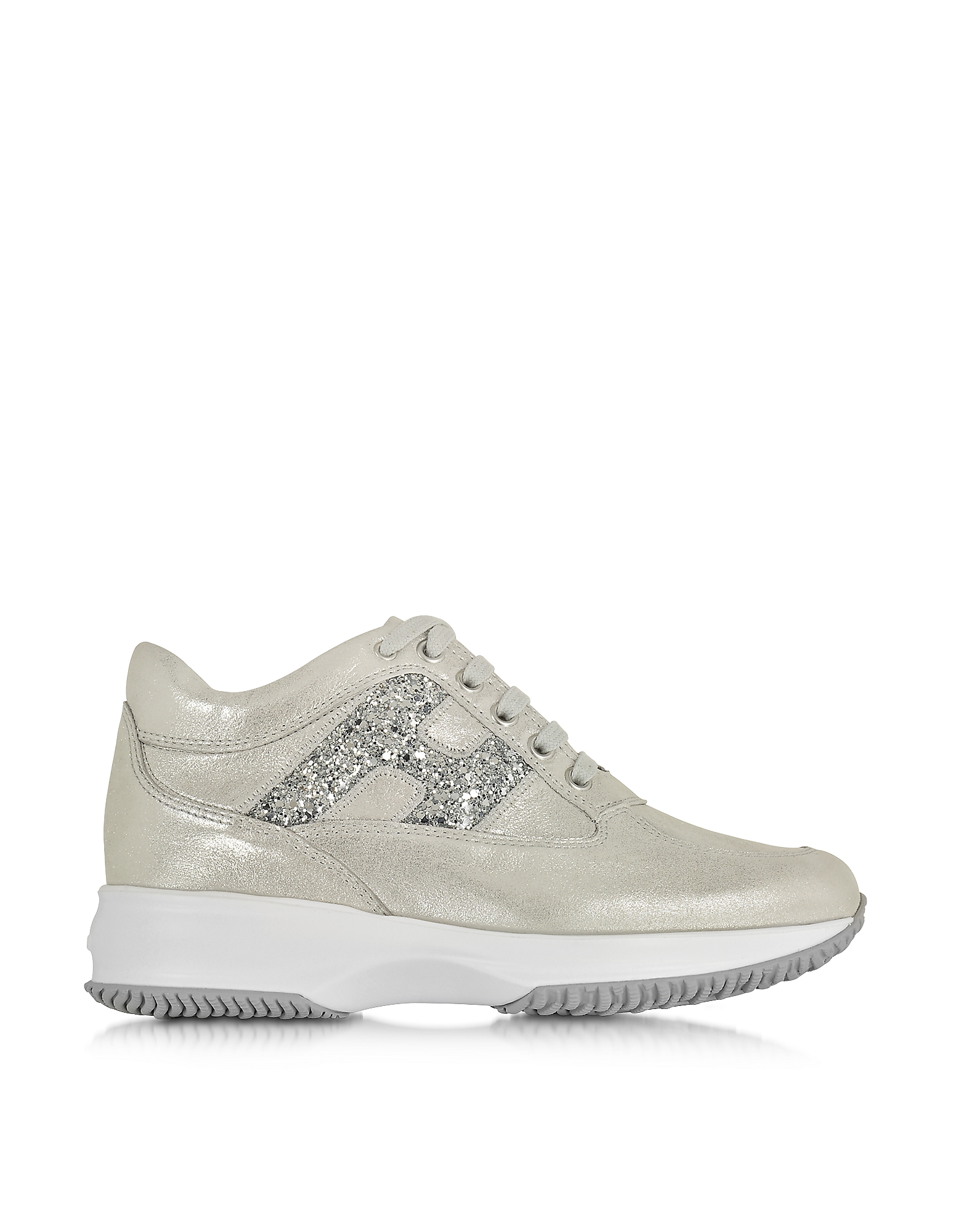 hogan silver suede glitter wedge sneaker in gray lyst. Black Bedroom Furniture Sets. Home Design Ideas