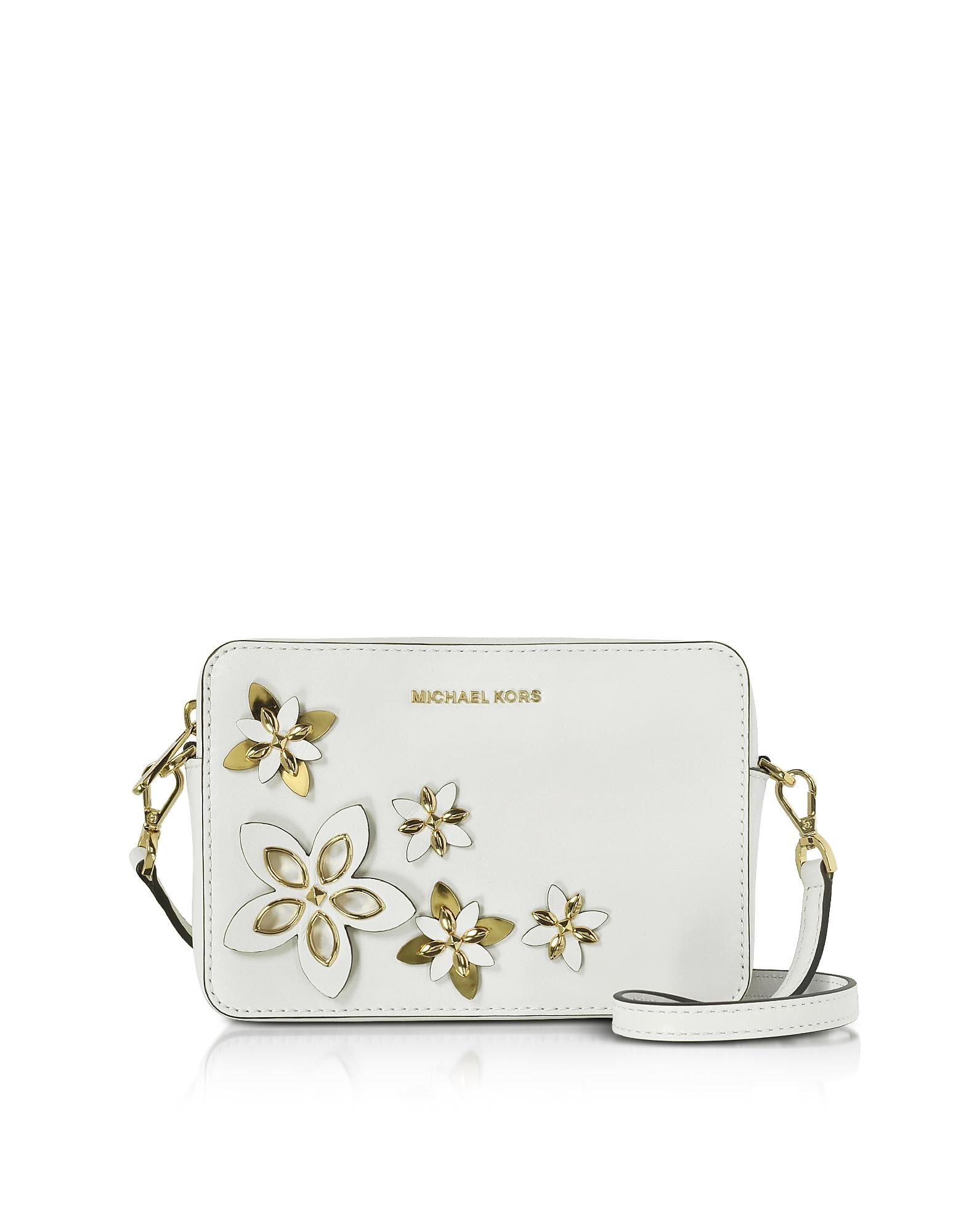 Michael Kors Flowers Pouches Medium Leather Camera Bag In White | Lyst