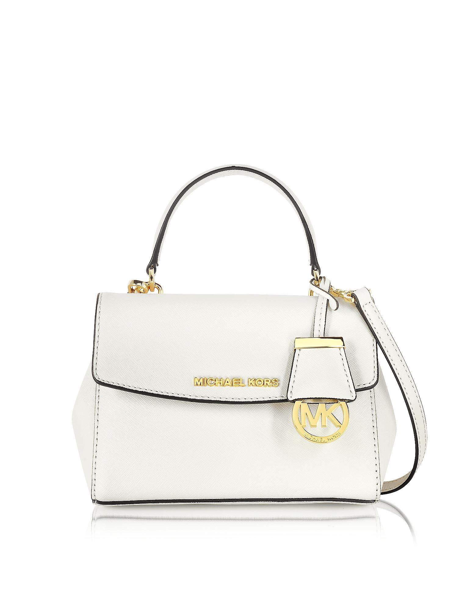 468304767dda Michael kors Ava Extra Small Saffiano Leather Crossbody Bag in White | Lyst