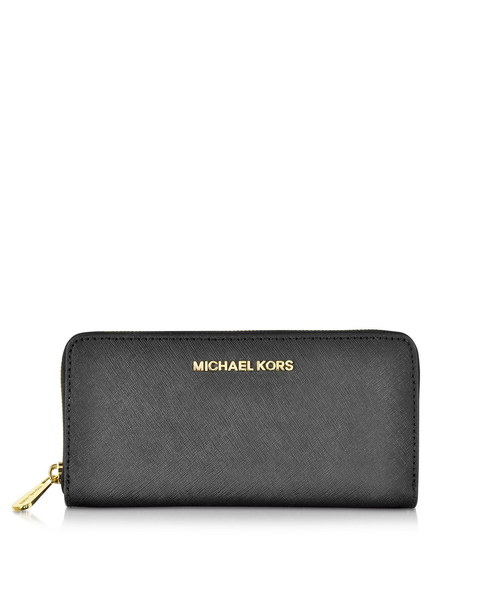 7548f8c5ed22db Michael Kors Saffiano Wallet Uk. Michael kors Black Jet Set Travel Saffiano  Leather Continental Wallet in Black | Lyst