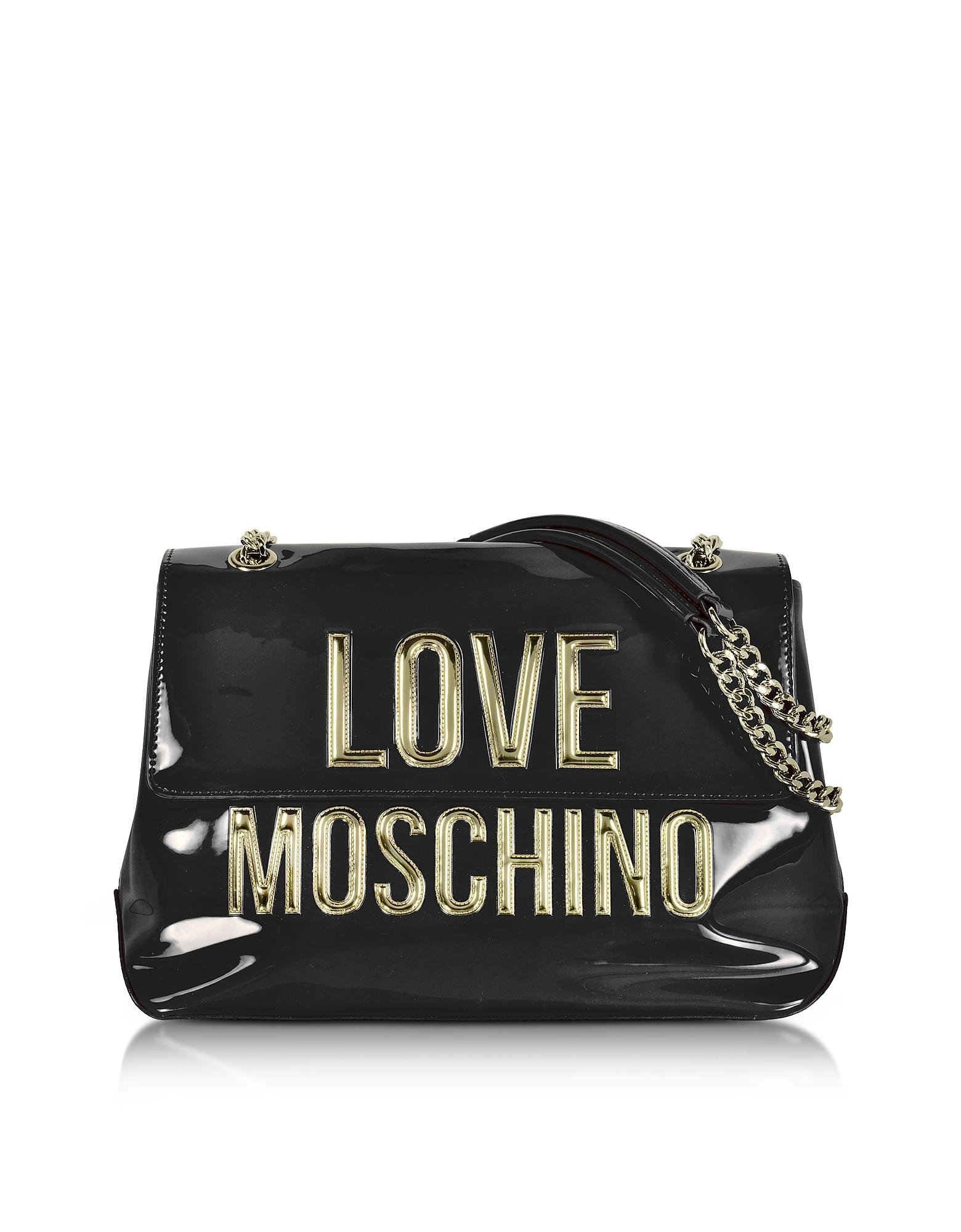 love moschino black patent eco leather shoulder bag w signature logo in black lyst. Black Bedroom Furniture Sets. Home Design Ideas