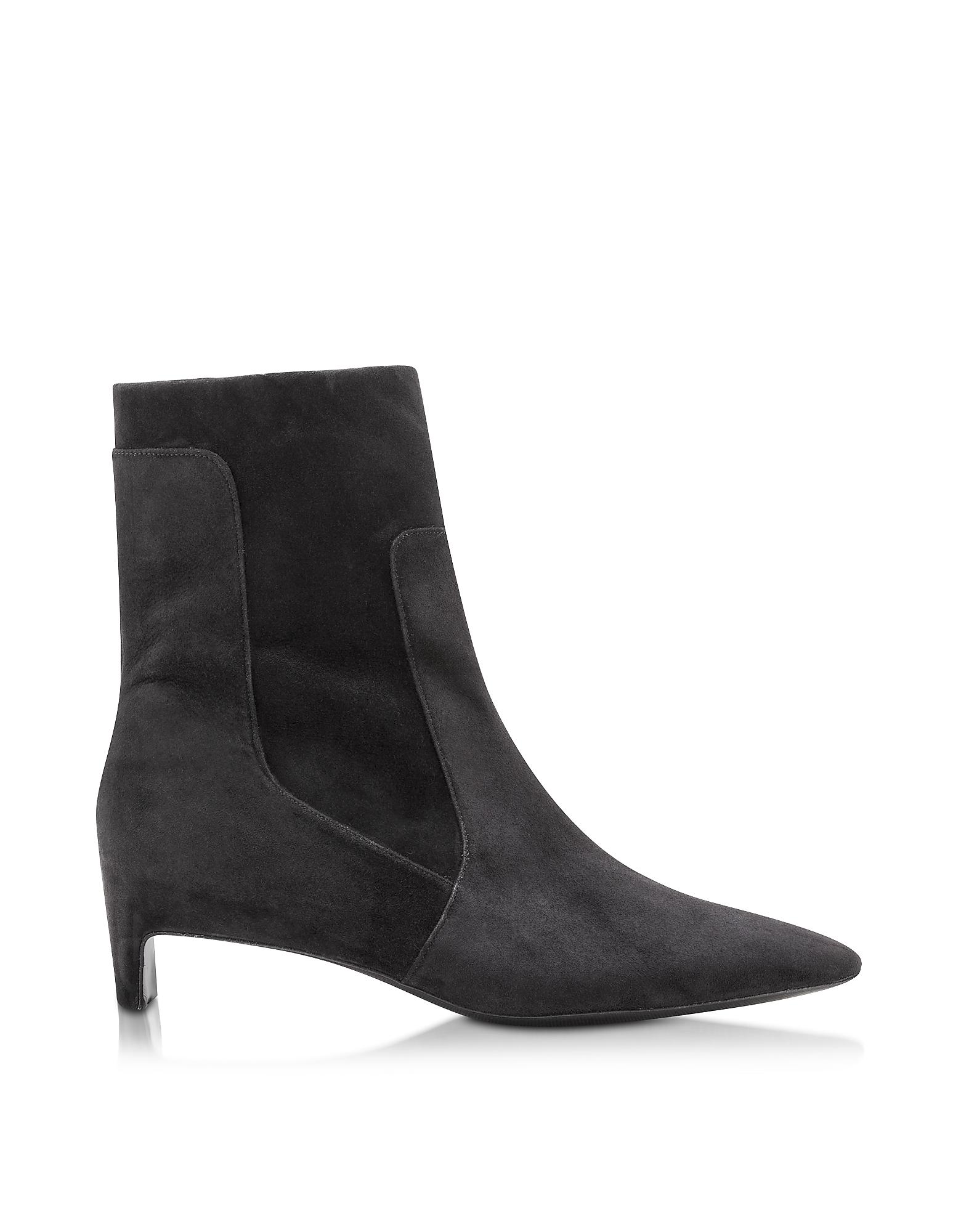 robert clergerie admir black suede mid heel boot in black