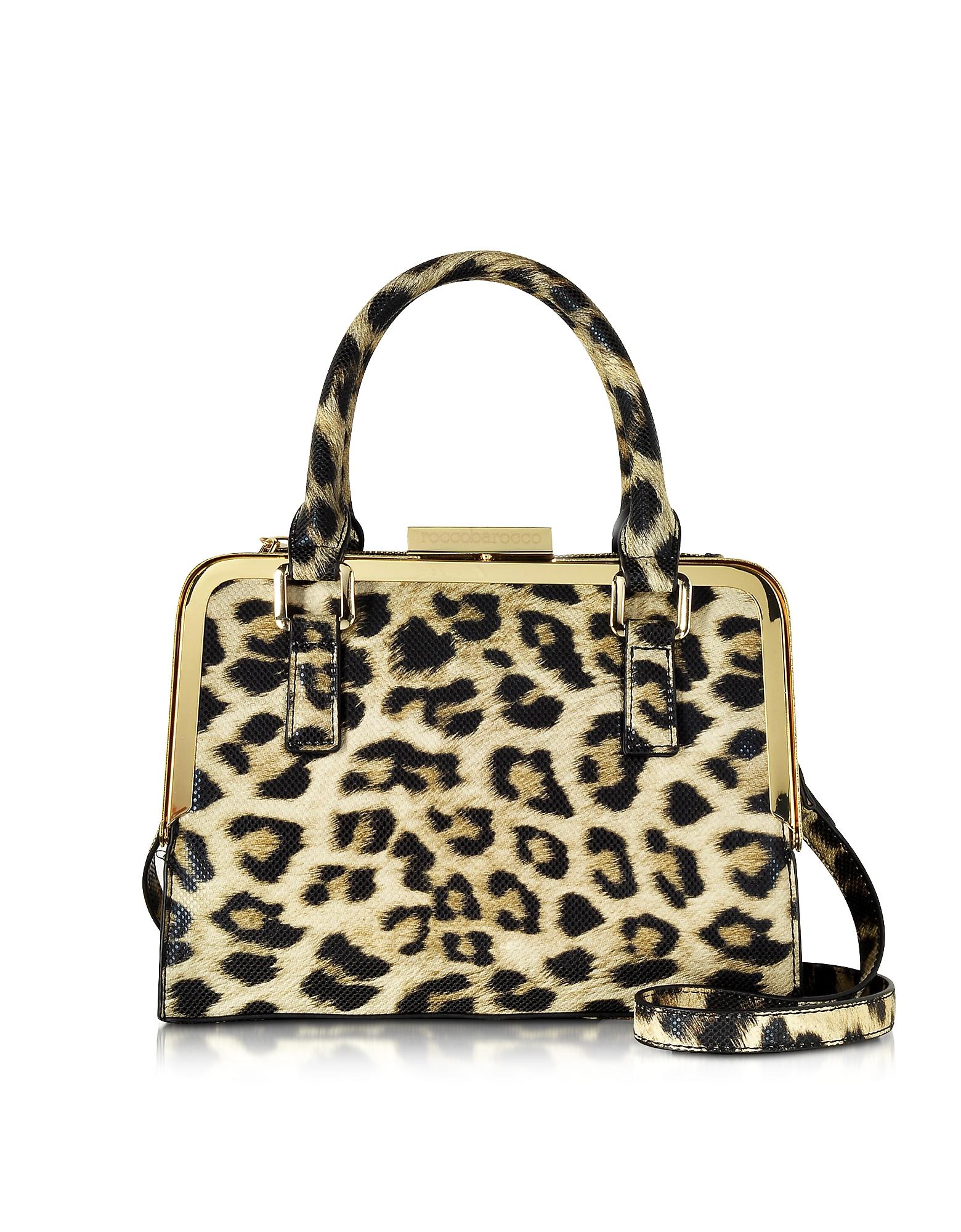 Roccobarocco Lyric Animal Print Eco Leather Satchel Bag in ...