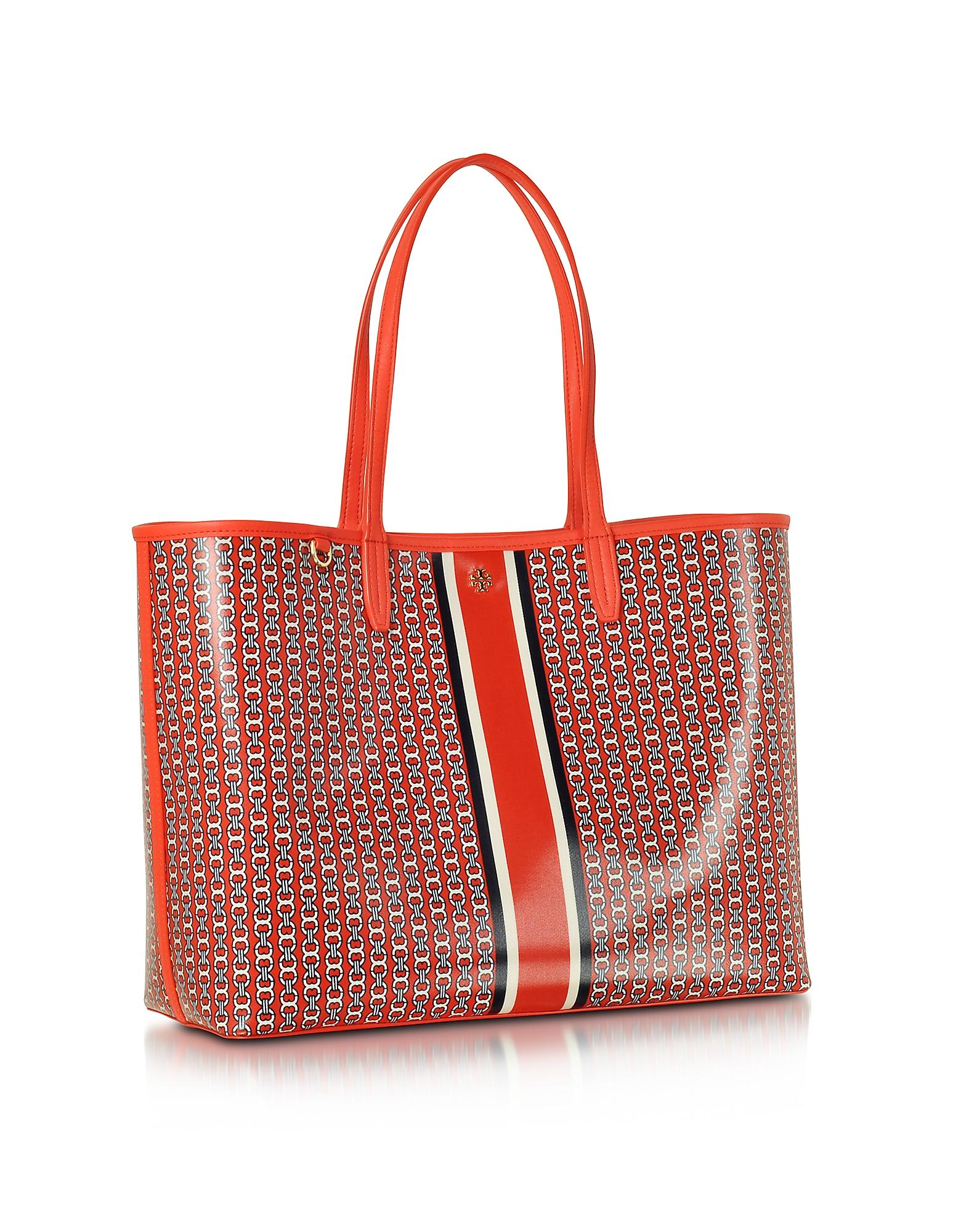 88e868bc5e96 Lyst - Tory Burch Samba Gemini Link Stripe Canvas Tote Bag in Orange