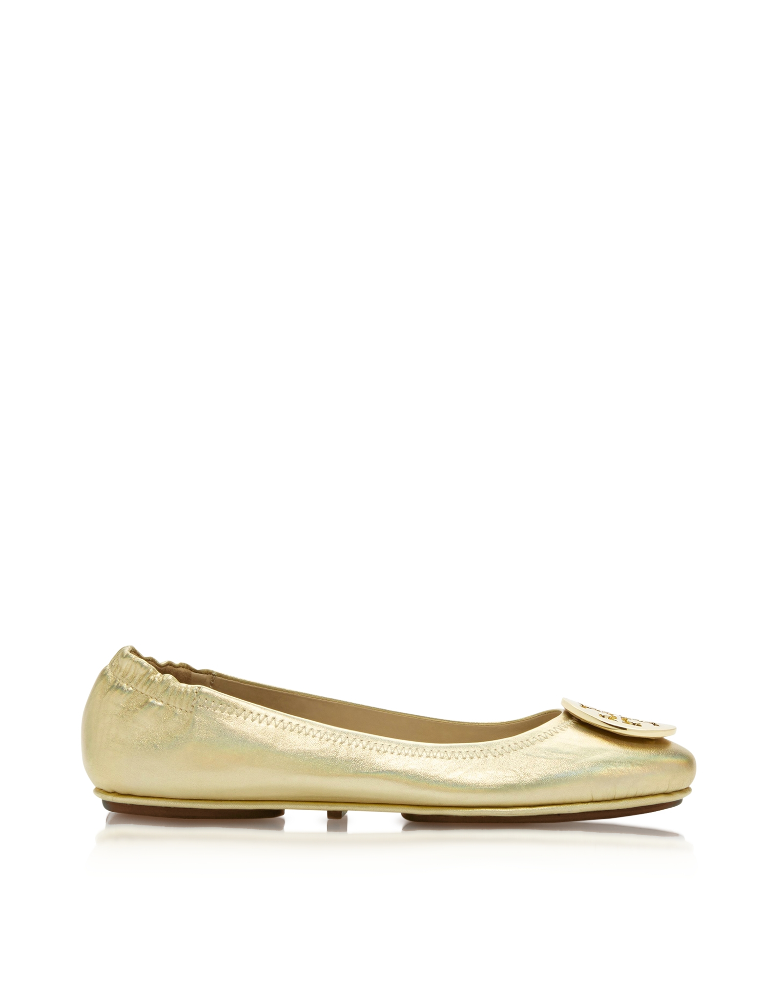 Tory Burch Minnie Leather Travel Ballet Flats In Natural  Lyst