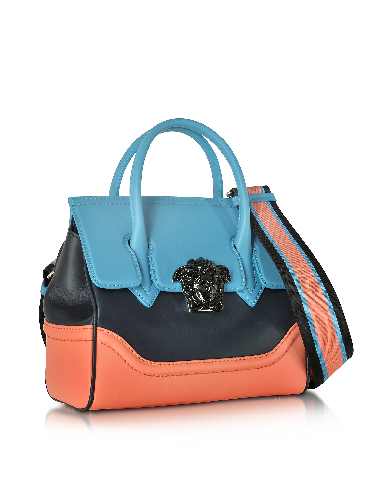 9d6590e0d620 Lyst - Versace Small Palazzo Empire Color Block Leather Tote Bag in Pink