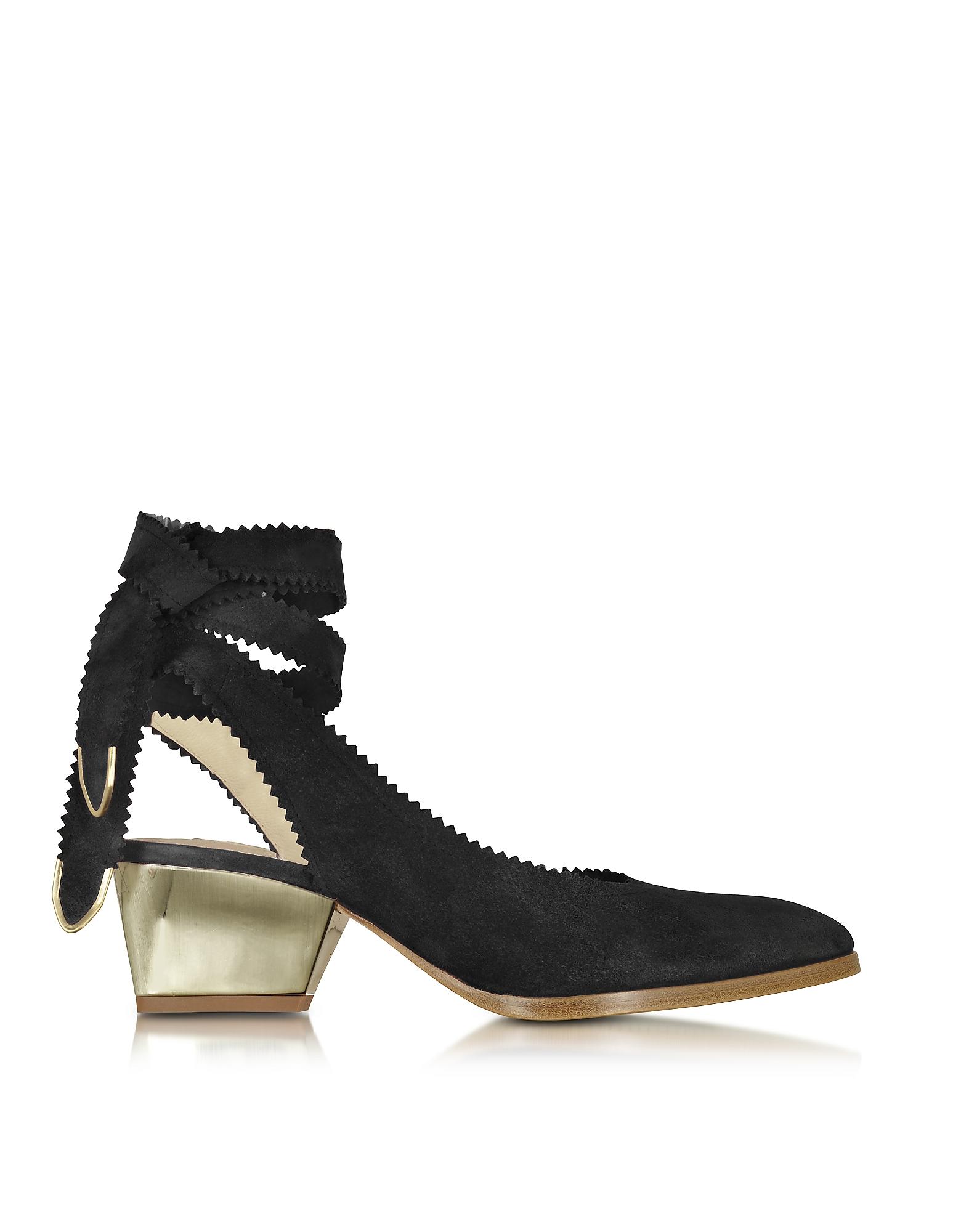 Elegance Shoes Black Red Suede