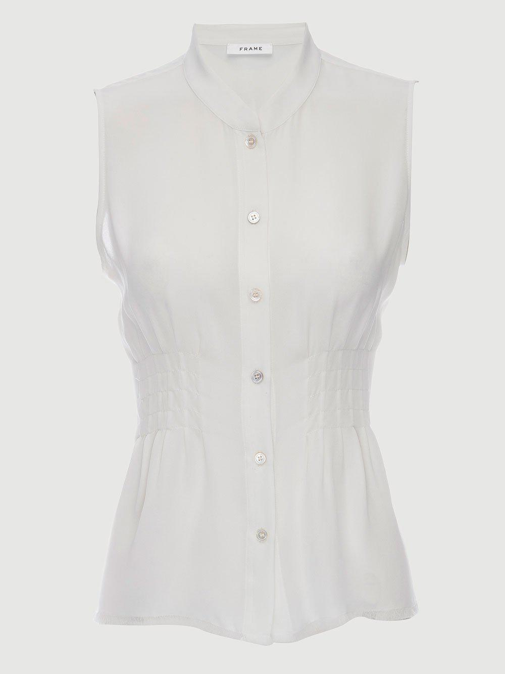 2221ac64a8536 Lyst - FRAME Raw Smocked Sleeveless Silk Blouse in White